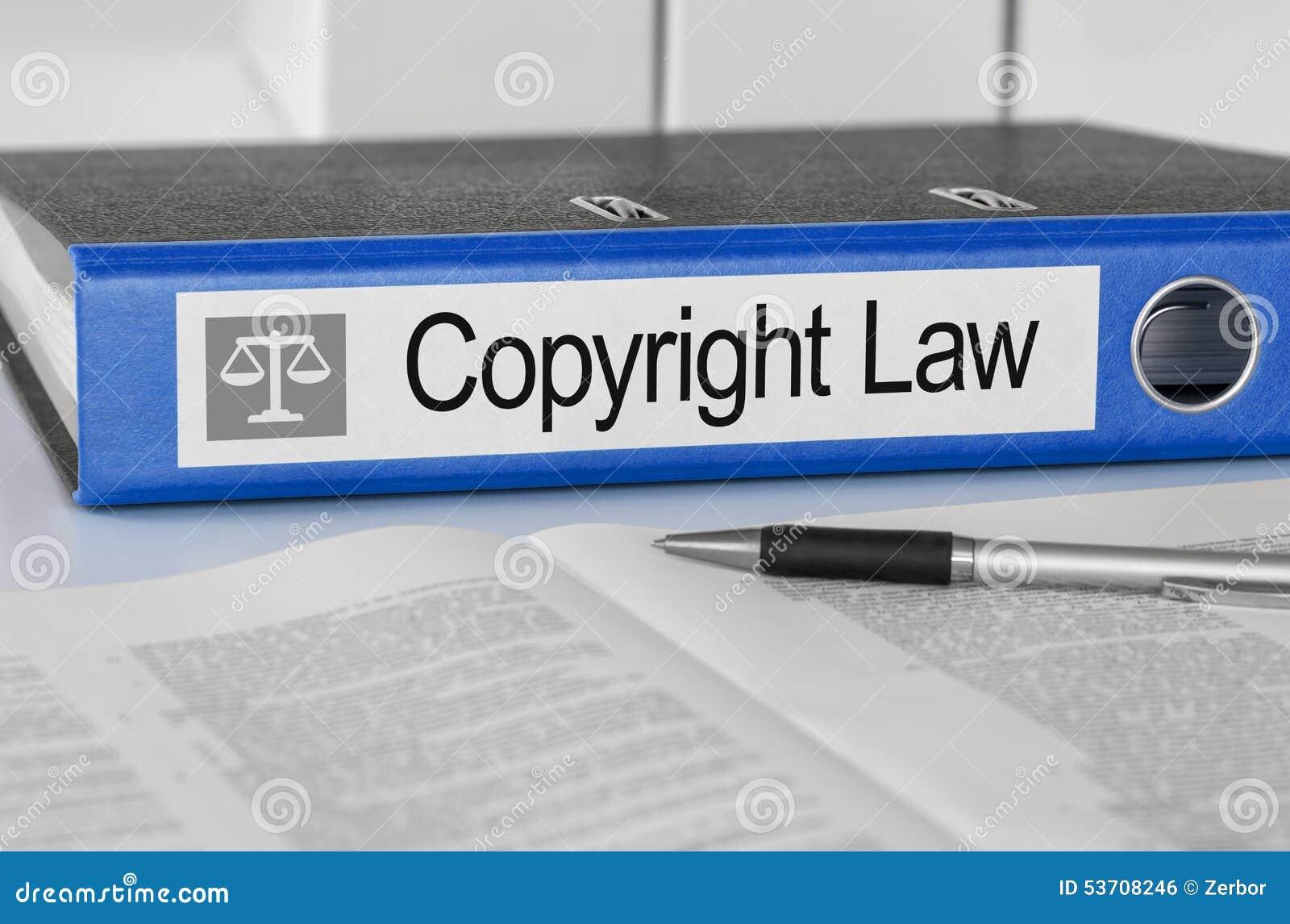 Cartella con la legge sui diritti di autore dell etichetta