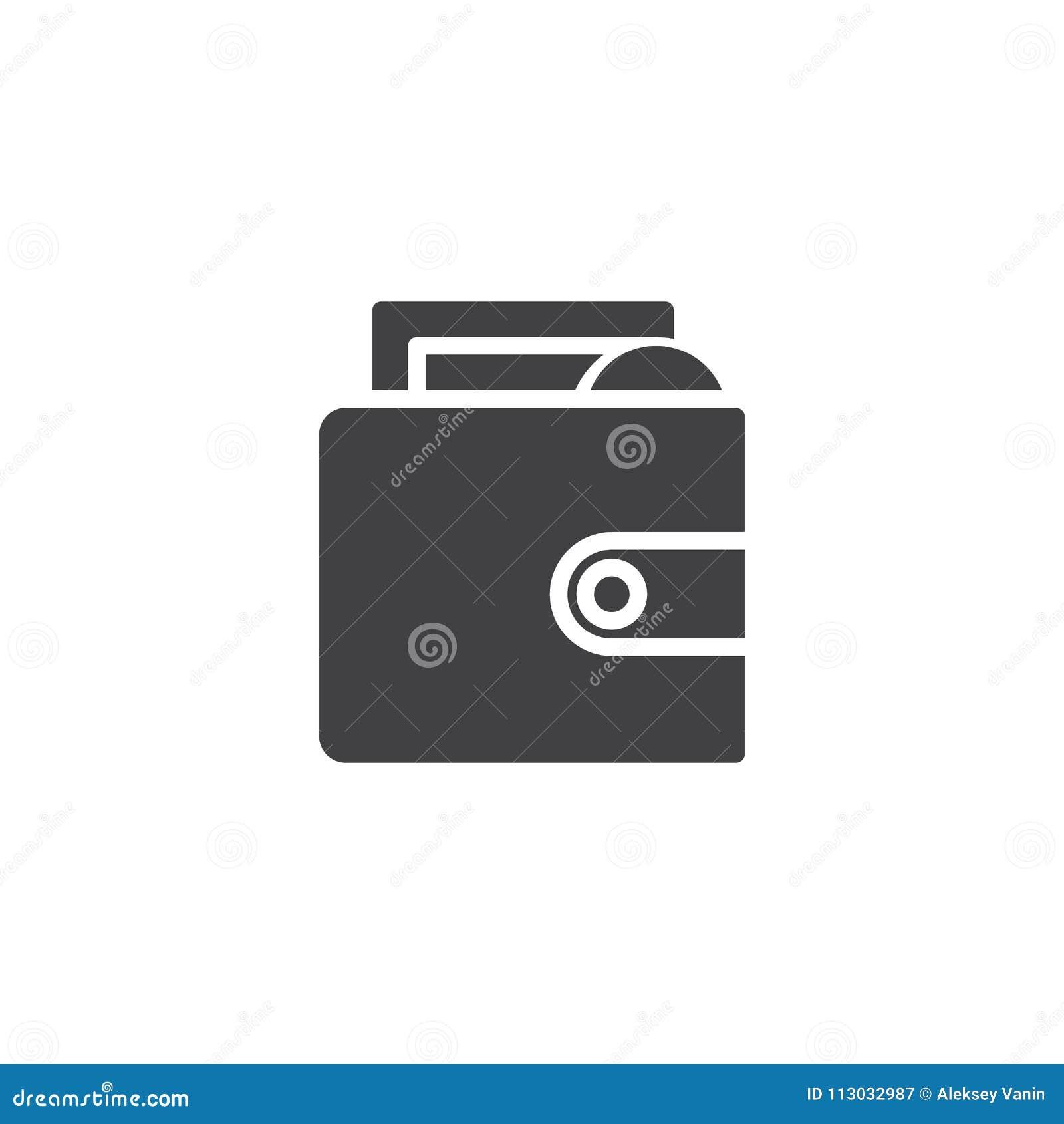 Cartera con el icono del vector del dinero