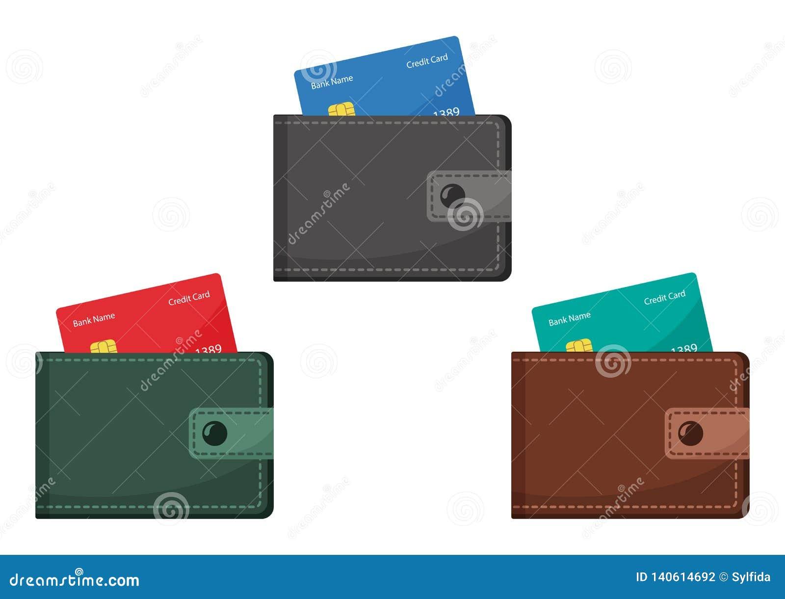 Cartera con las tarjetas de crédito Ilustración del vector
