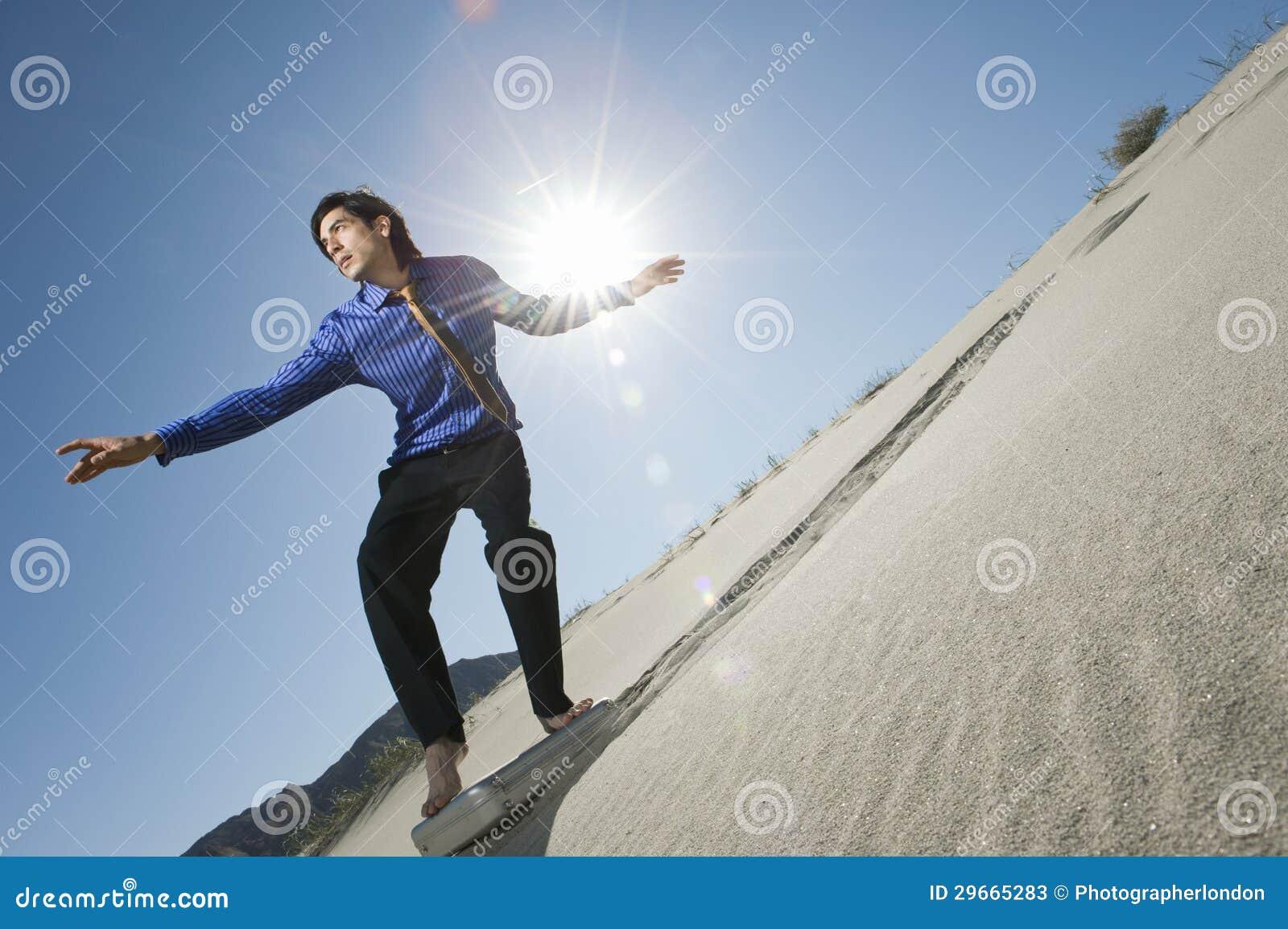 Cartera de Surfing Downhill On del hombre de negocios