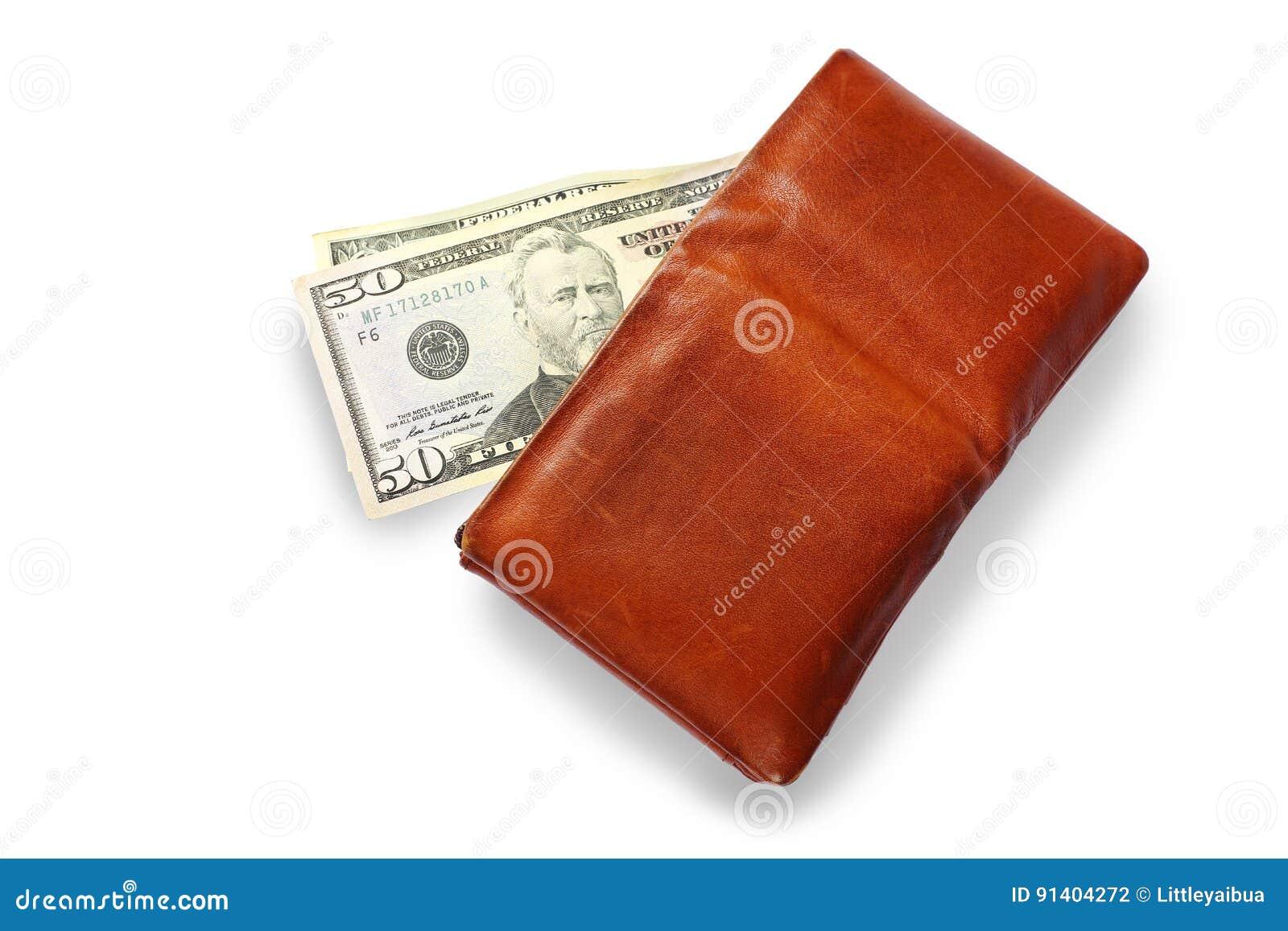 Cartera del ` s de los hombres con efectivo del dólar en el fondo blanco