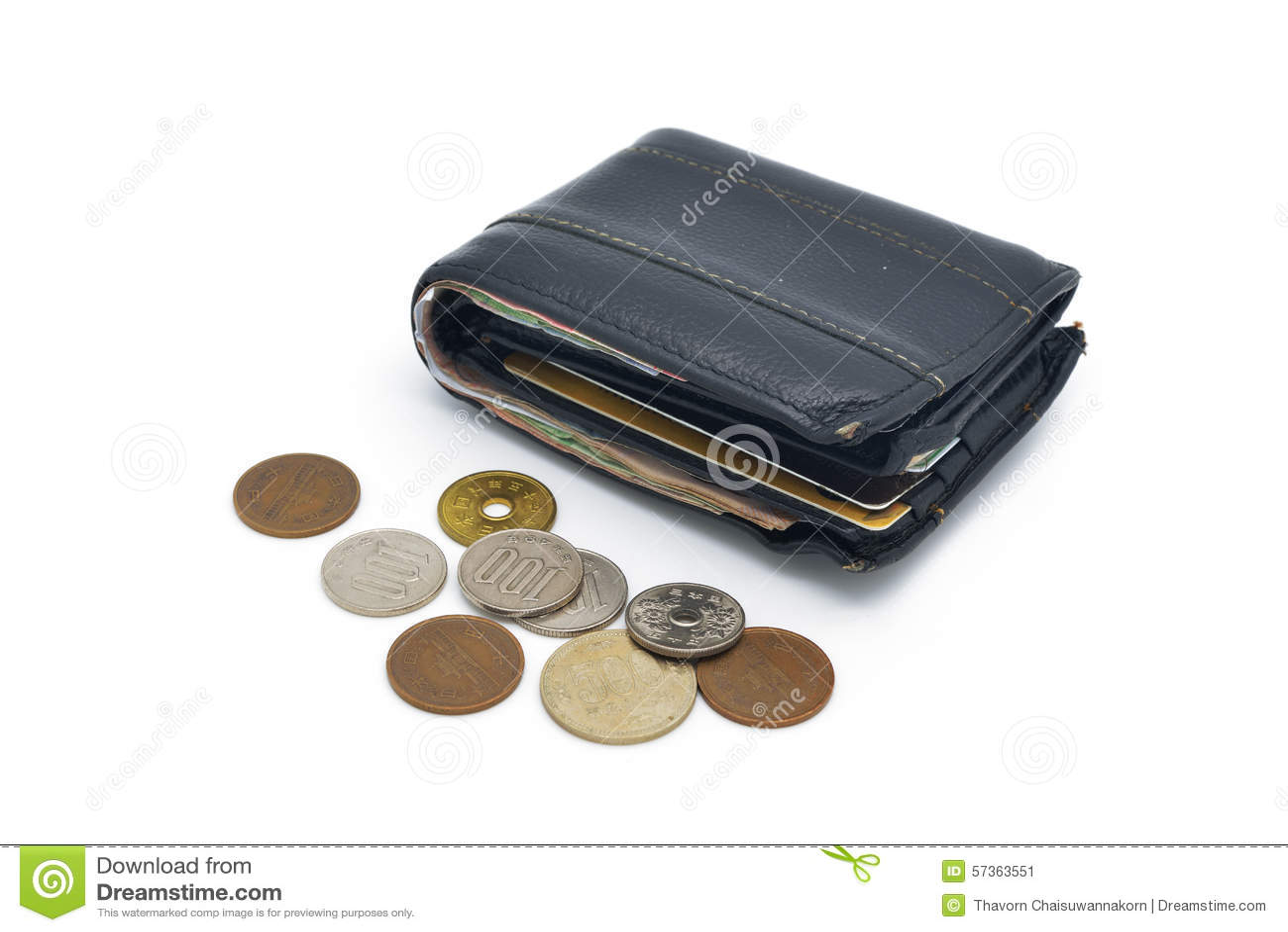 Cartera y monedas de cuero usadas viejas aisladas