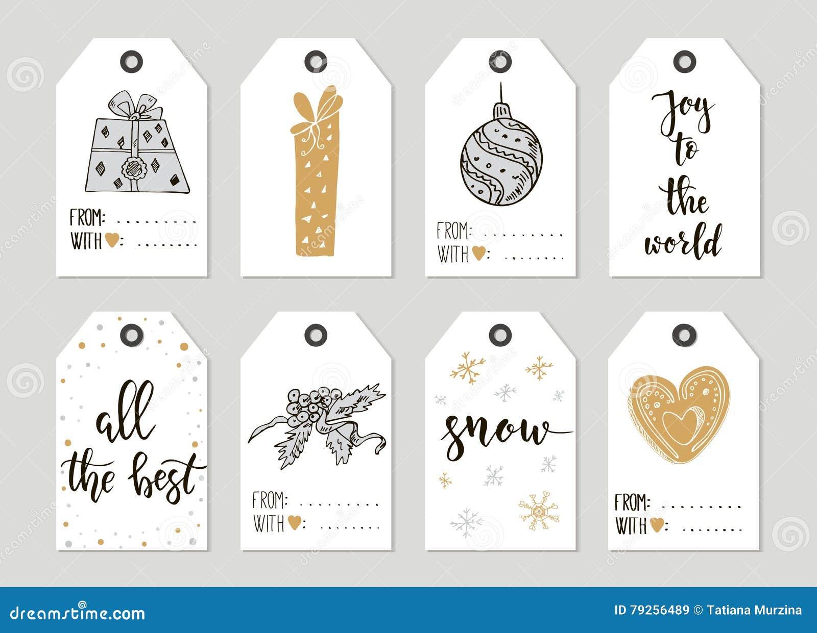 cartes d 39 tiquettes de cadeau de vintage de joyeux no l et de bonne ann e avec la calligraphie. Black Bedroom Furniture Sets. Home Design Ideas