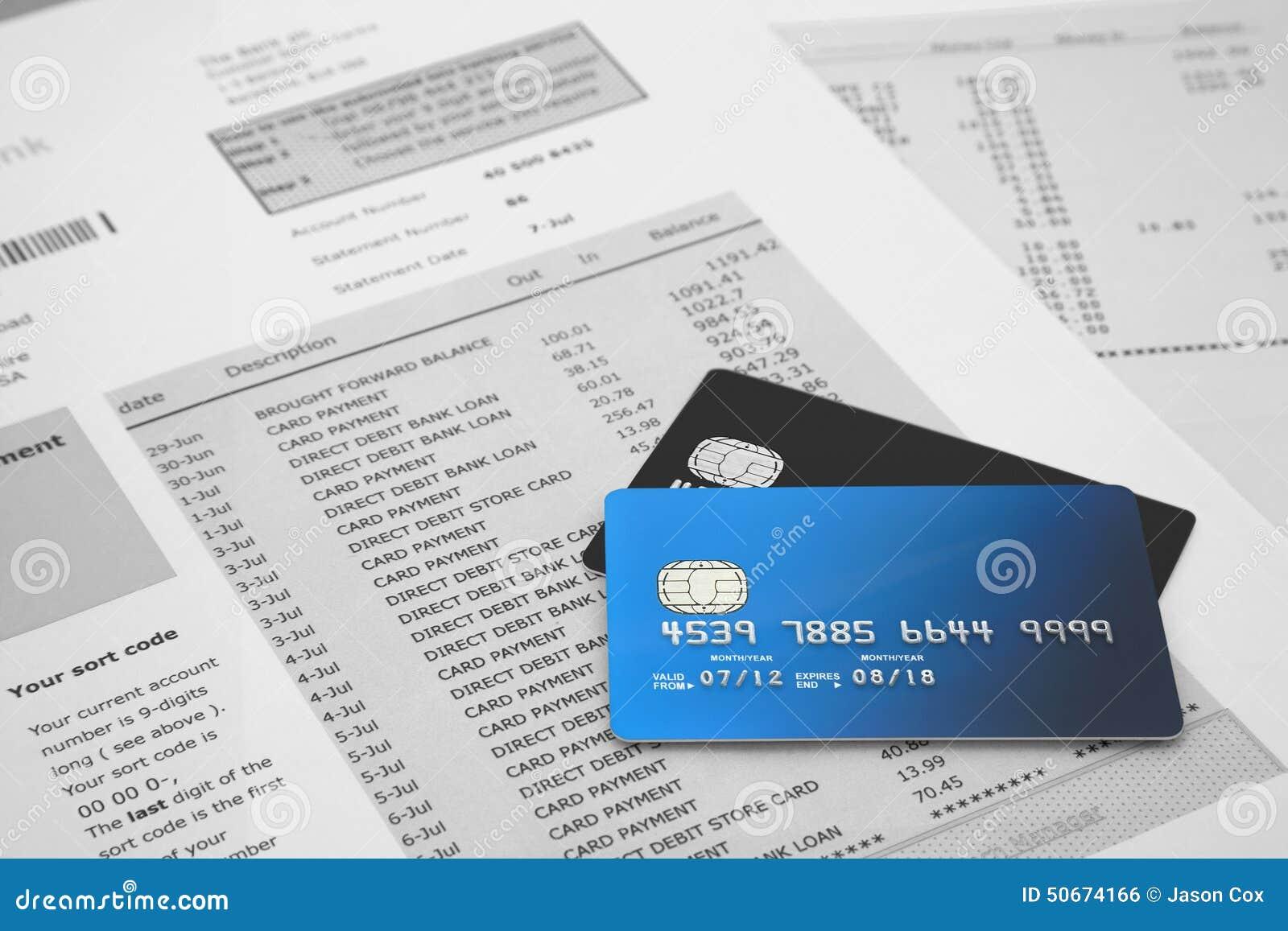 Cartes de crédit sur le relevé bancaire