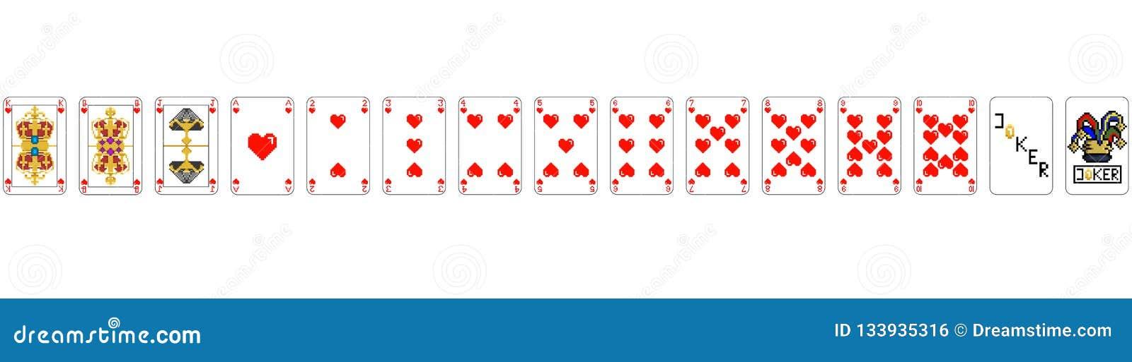 Cartes de jeu - ART de PIXEL de coeur de pixel