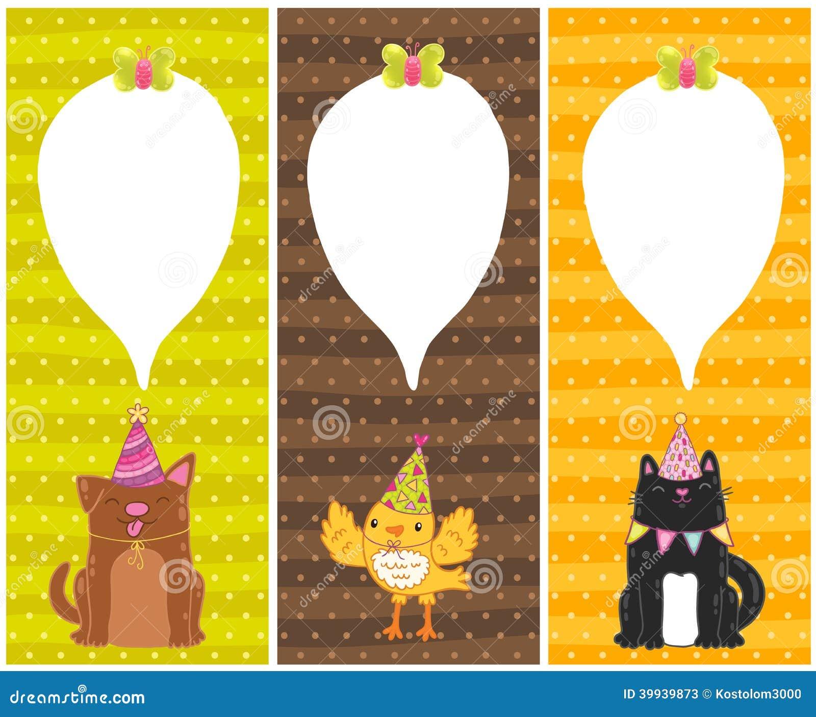 Cartes De Joyeux Anniversaire Avec Le Chien Chat Oiseau