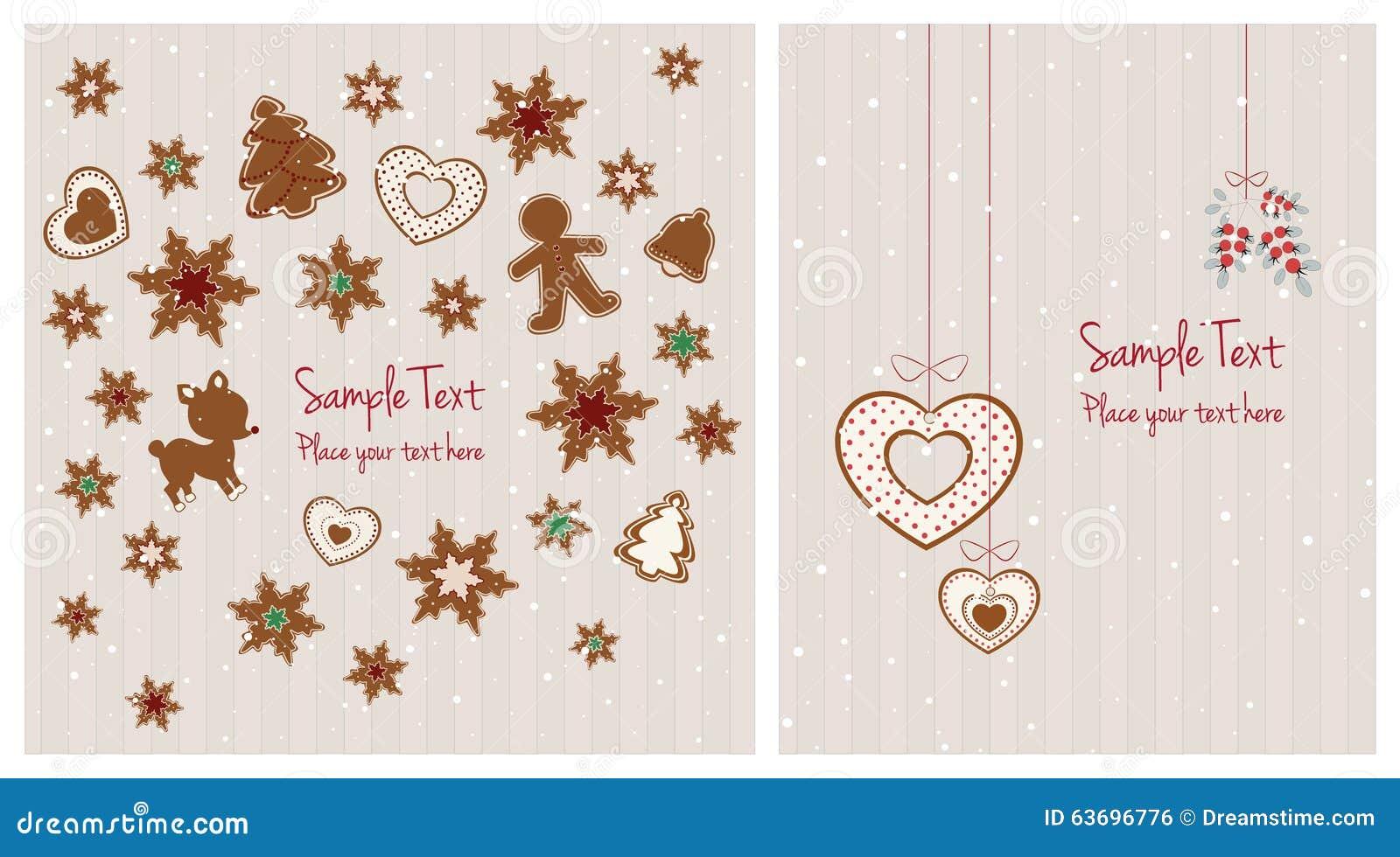 Cartes de Noël avec des décorations de pain d épice