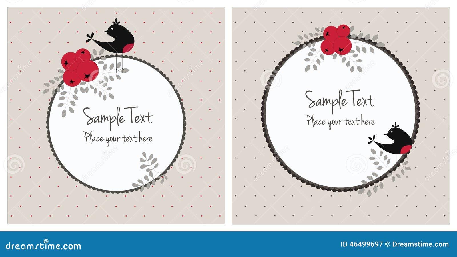 Cartes de Noël avec des oiseaux et des baies