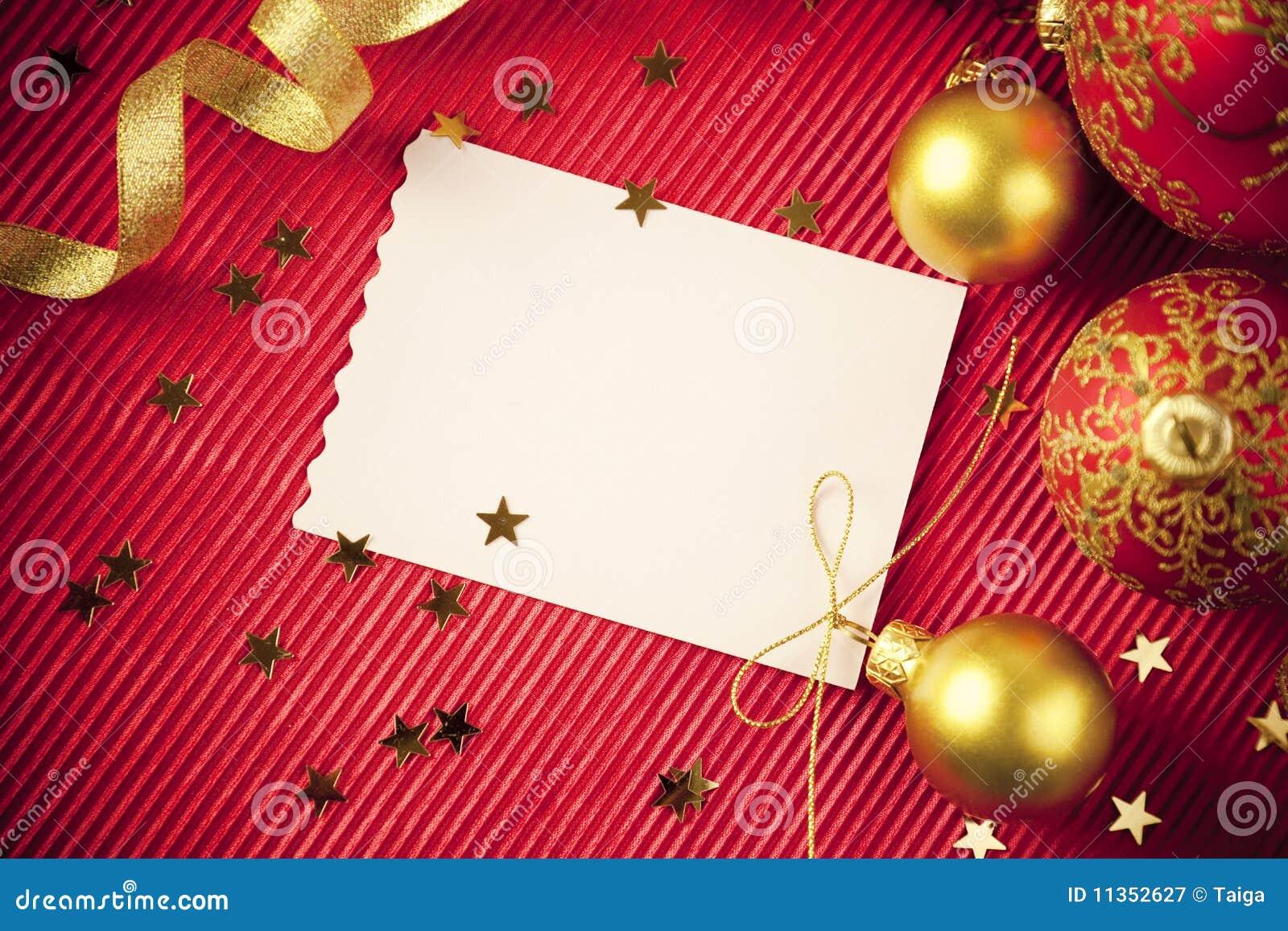 Cartes de Noël/avec l espace/rouge et or de copie