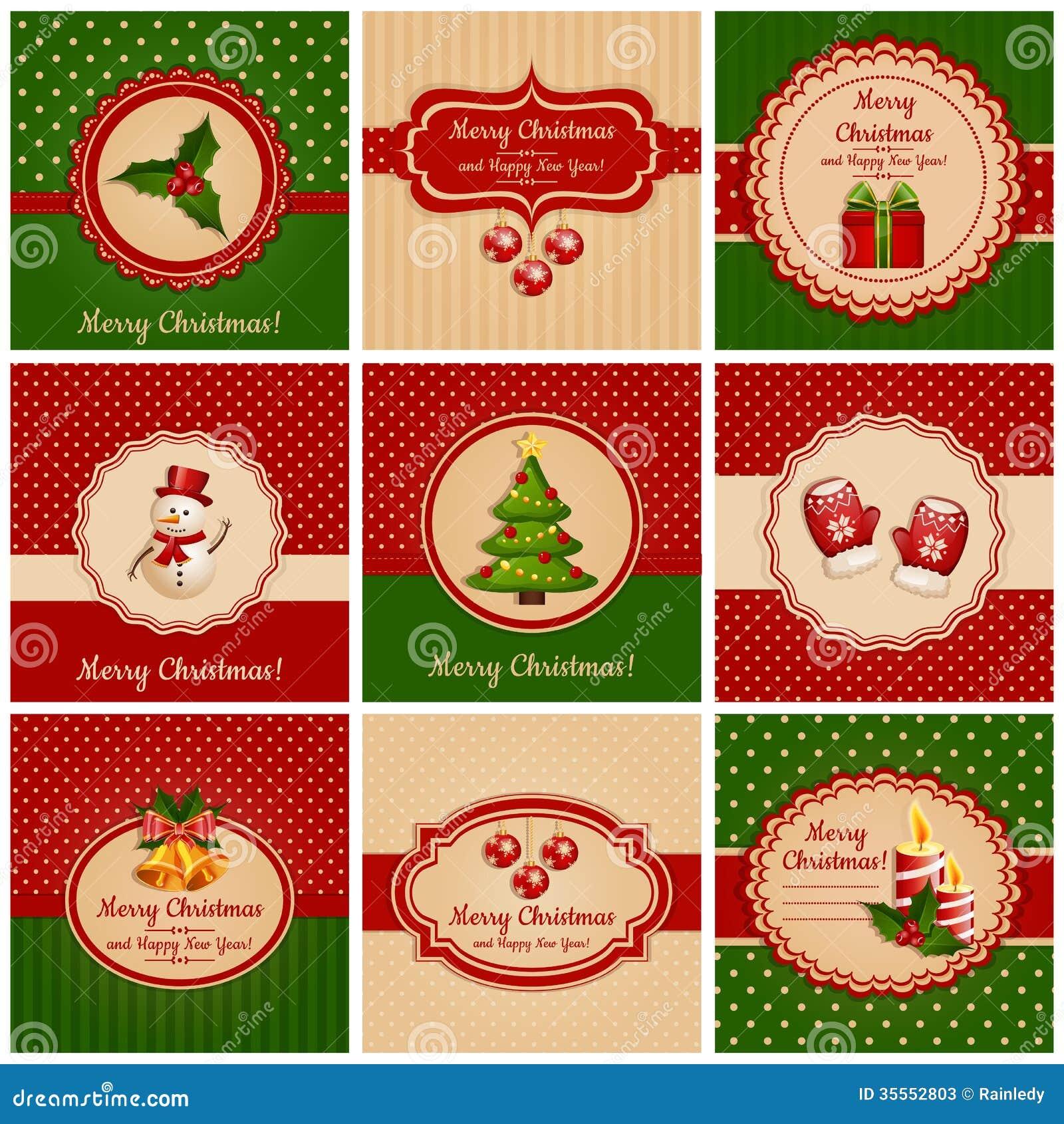 Cartes de Noël. Illustration de vecteur.