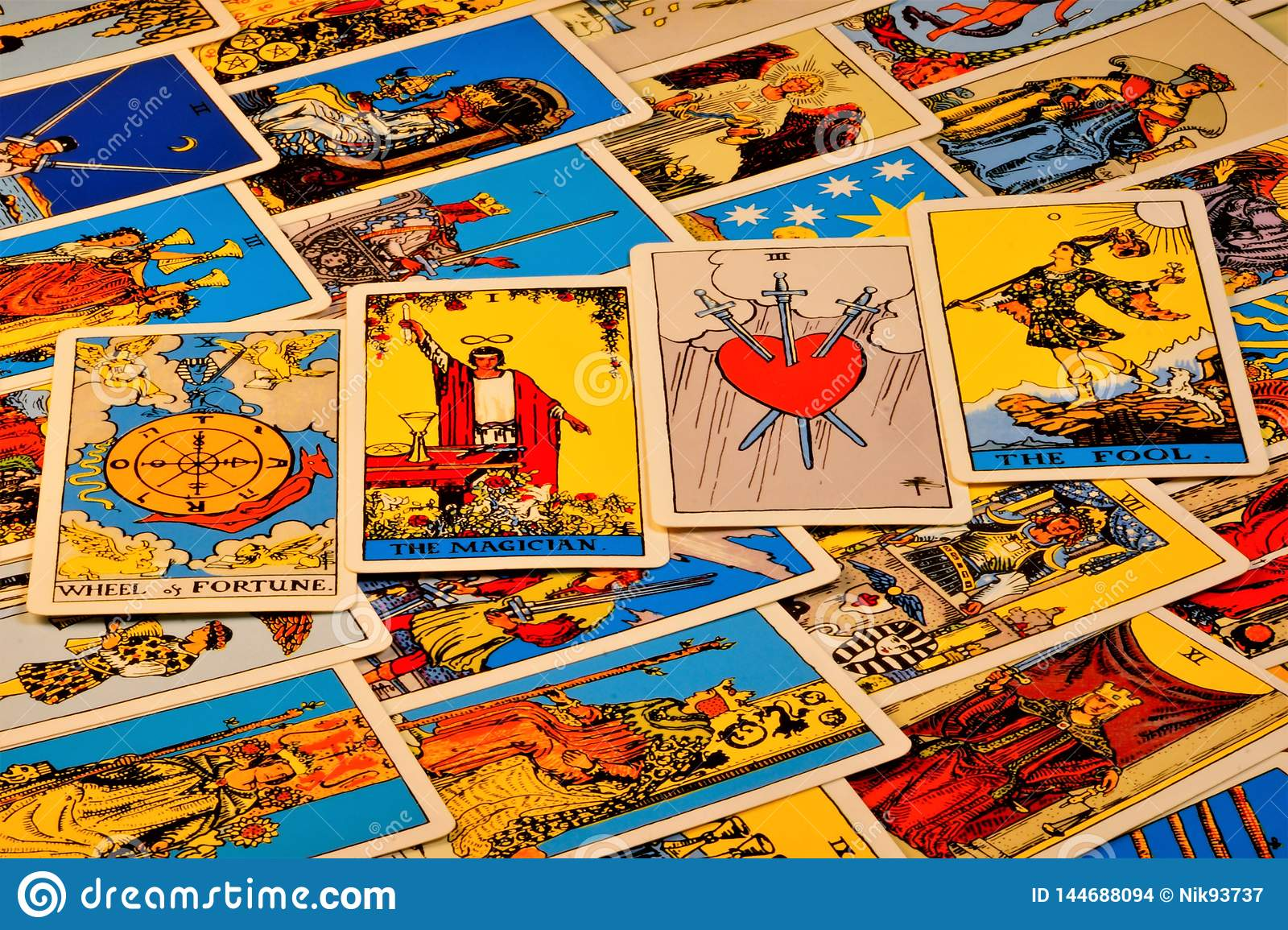 Tarot Cards The Mysterious Background Of Ancient Symbols Tarot Cards For Divination Prediction Prediction Of The Past The Photo Stock Image Du Ancient Tarot 144688094