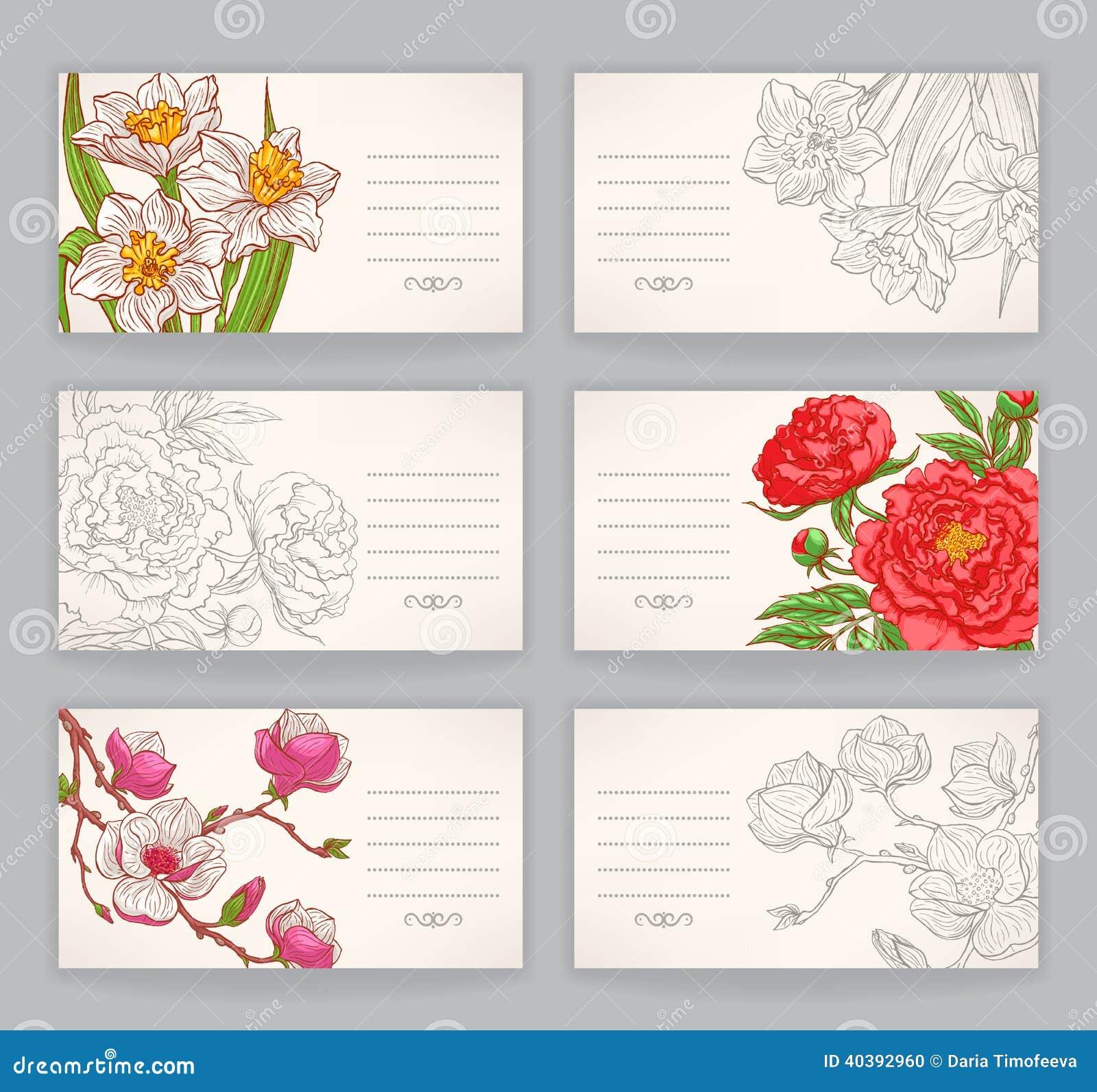 Cartes De Visite Professionnelle Avec Des Fleurs