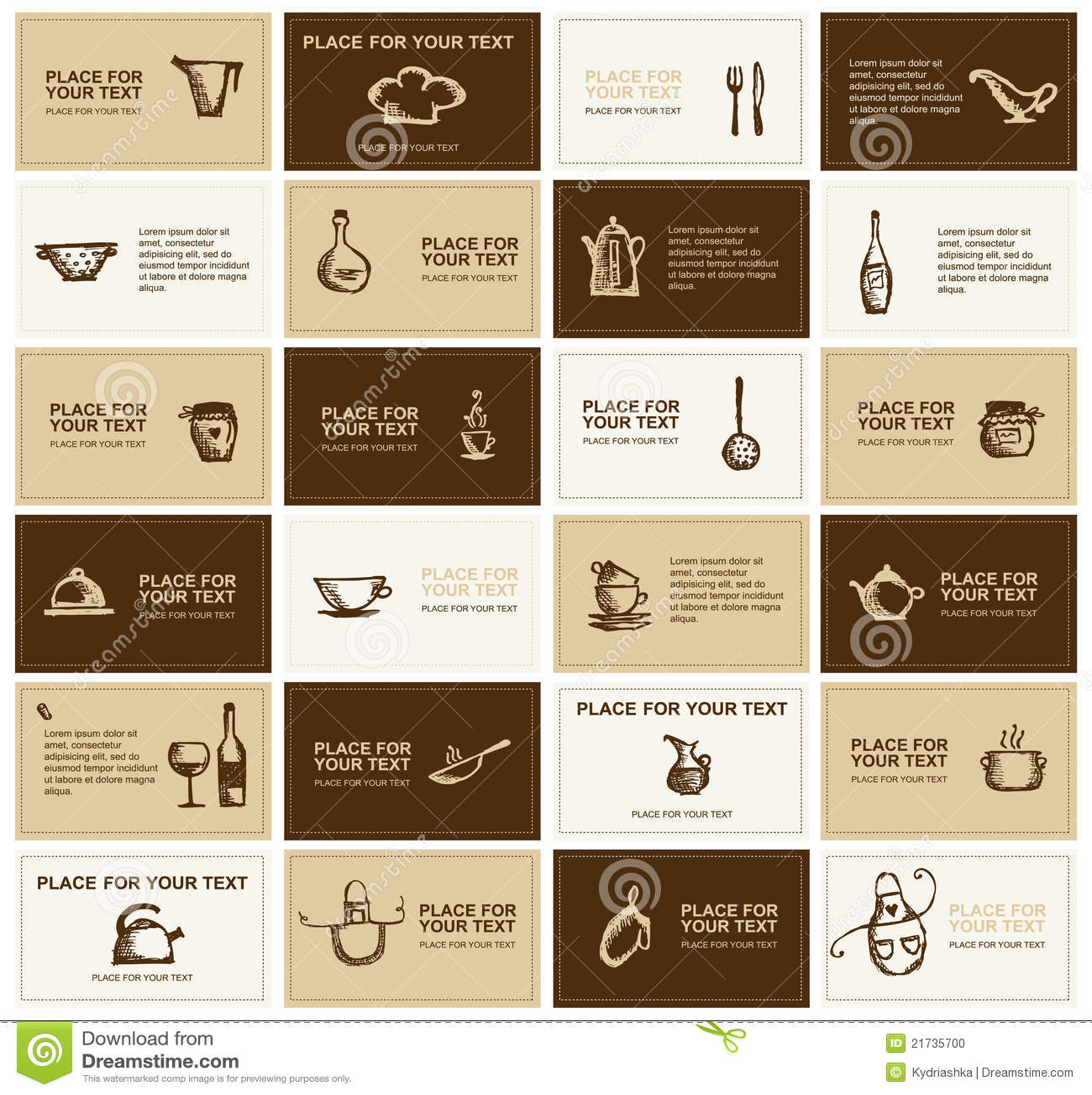 Cartes de visite professionnelle de visite avec des - Ustensiles de cuisine liste ...