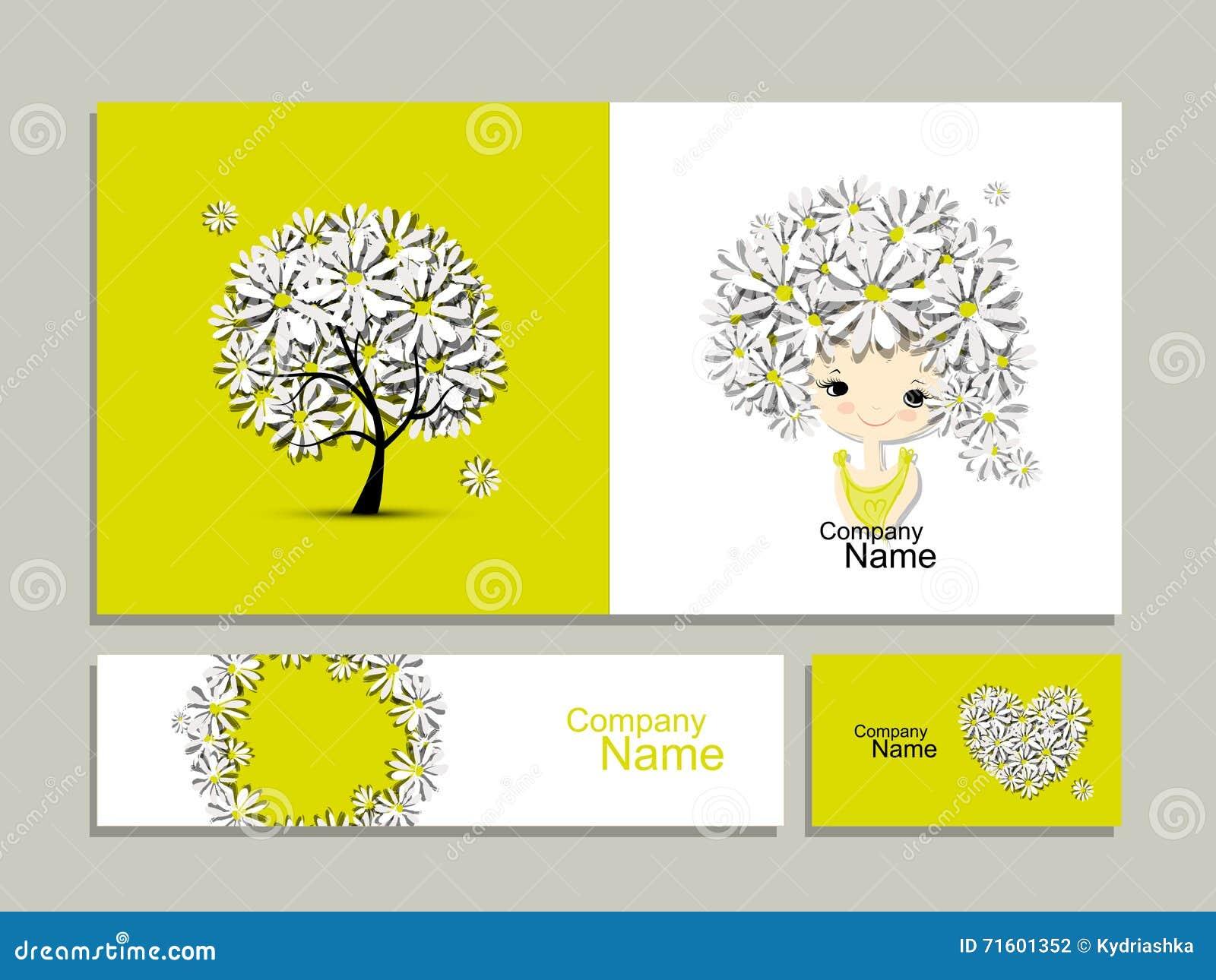 Cartes De Visite Professionnelle Avec La Fille Florale Pour Votre Conception