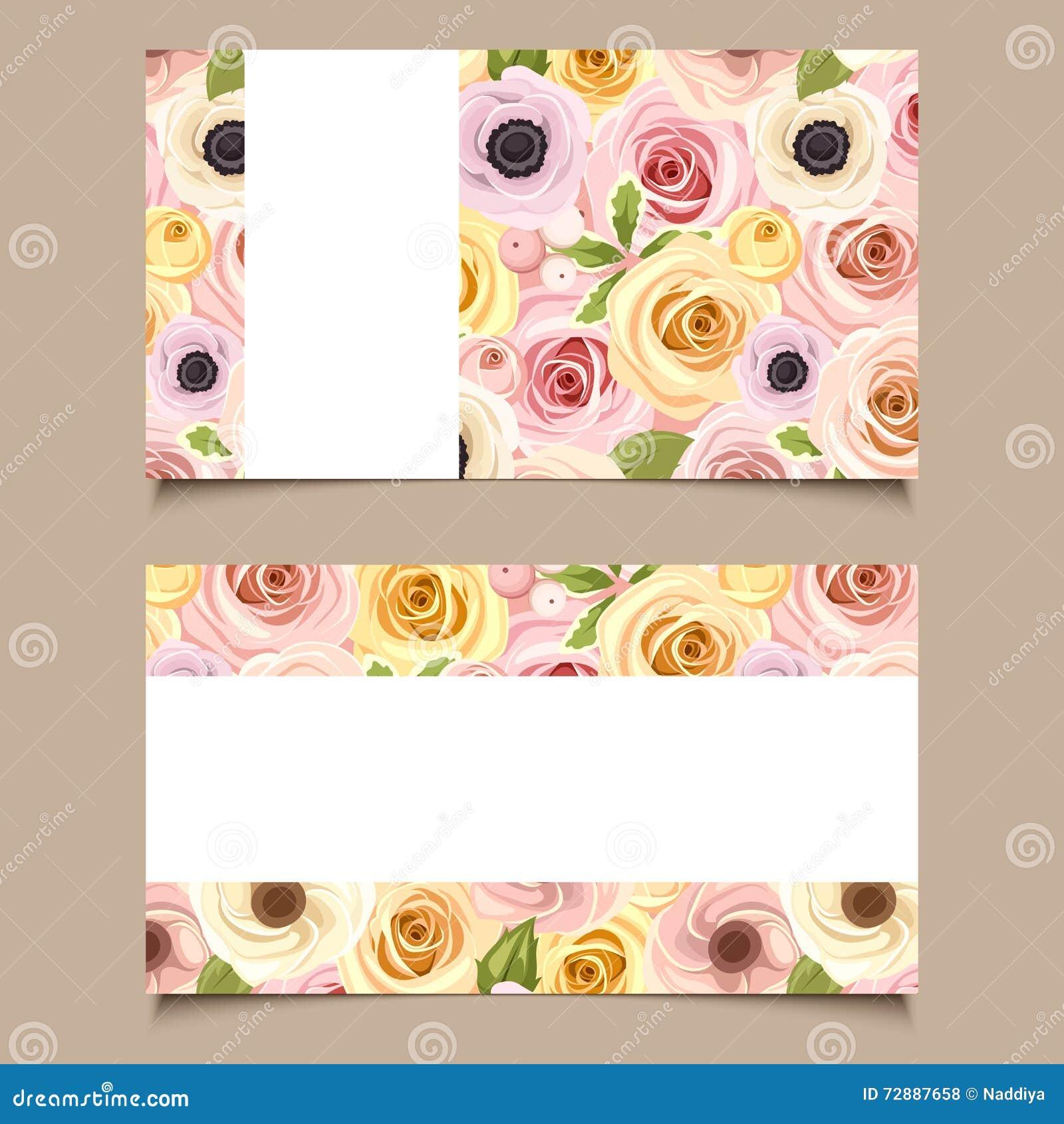 Cartes De Visite Professionnelle Avec Le Modele Fleurs Rose Et Jaune Vecteur EPS