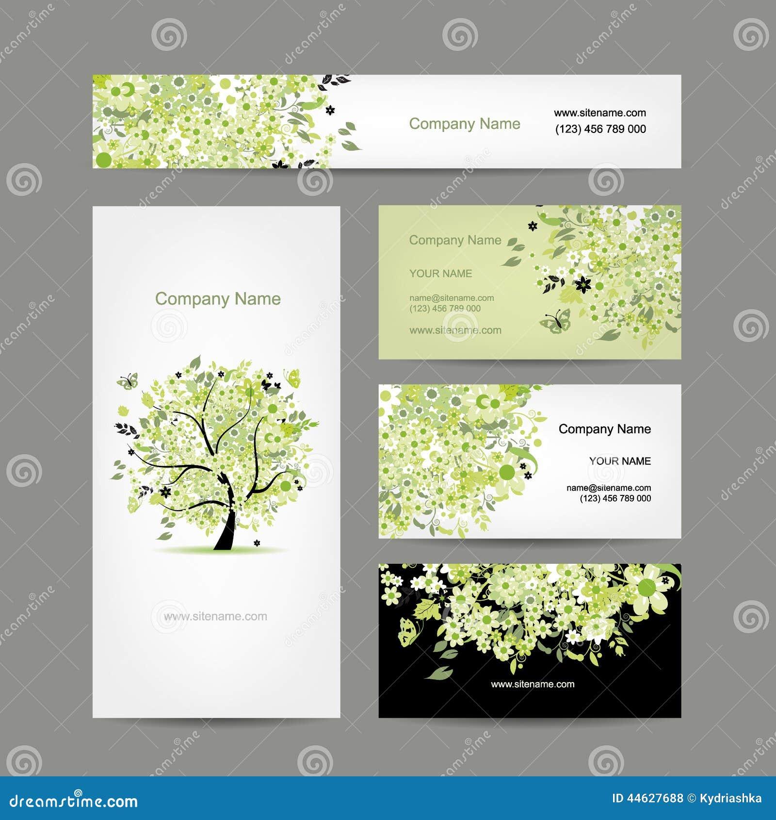 Cartes De Visite Professionnelle Conception Arbre Ressort Floral