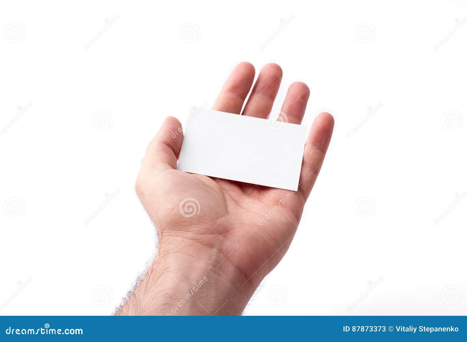 Cartes De Visite Professionnelle D Isolement Sur La Participation Blanche Dans Des Mains