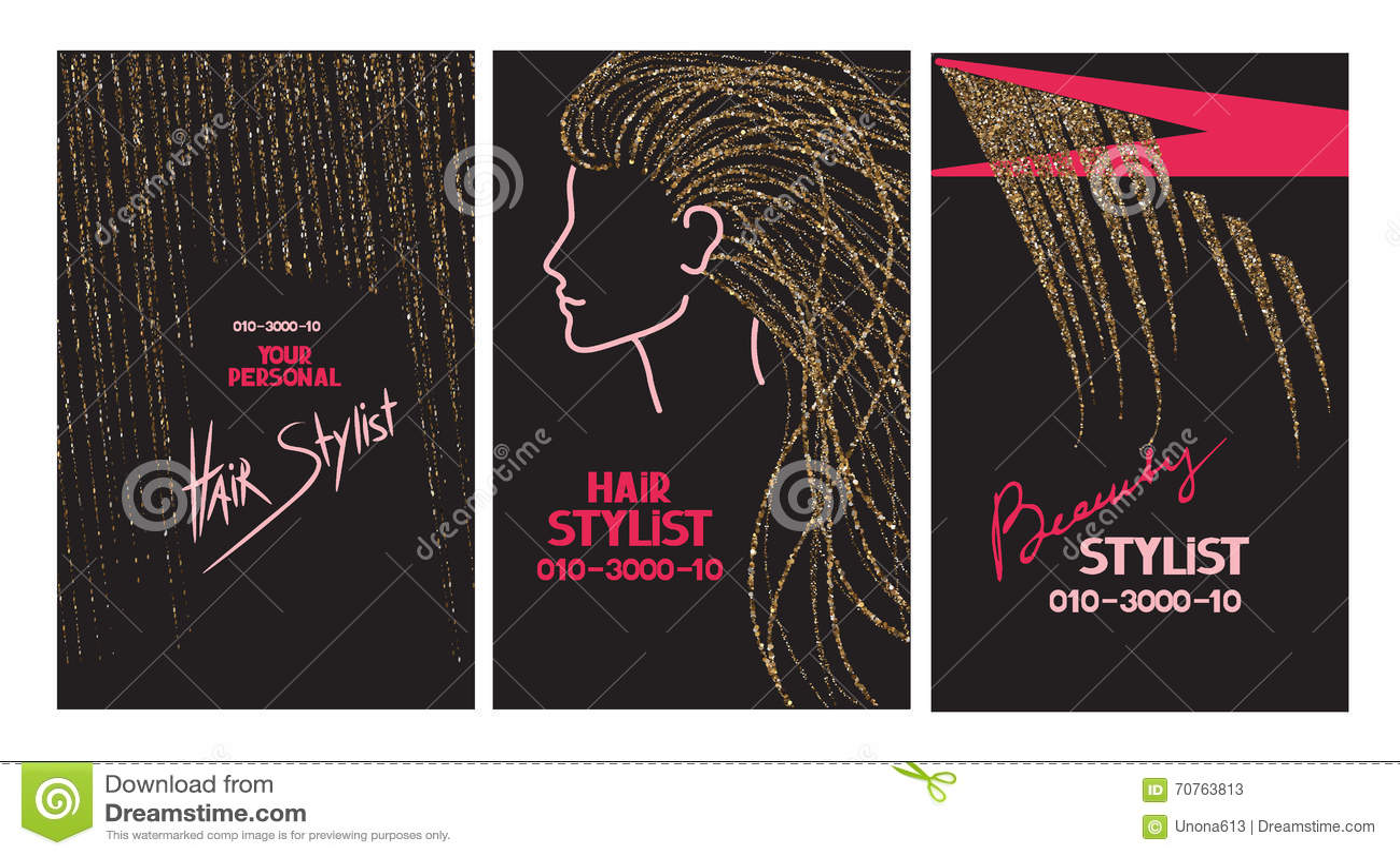 Cartes De Visite Professionnelle Coiffeur Avec Des Cheveux Et Ciseaux Dor