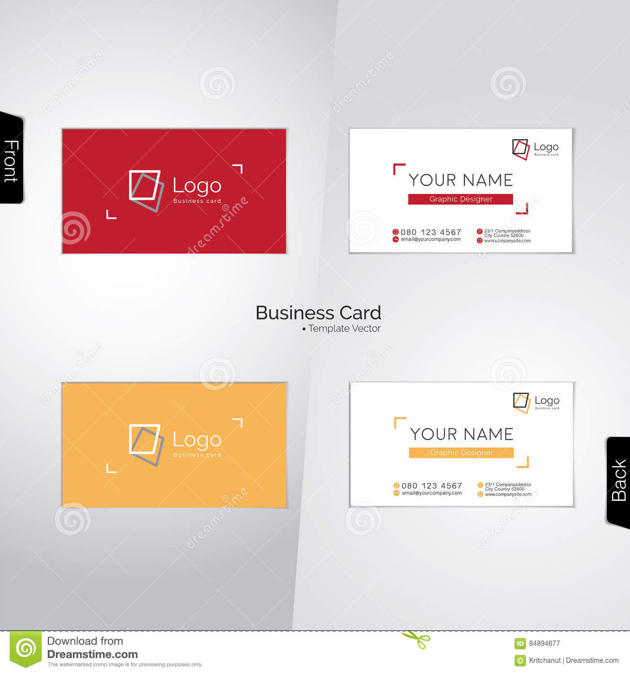 Download Cartes De Visite Professionnelle Photographe Et Concepteur Illustration Vecteur