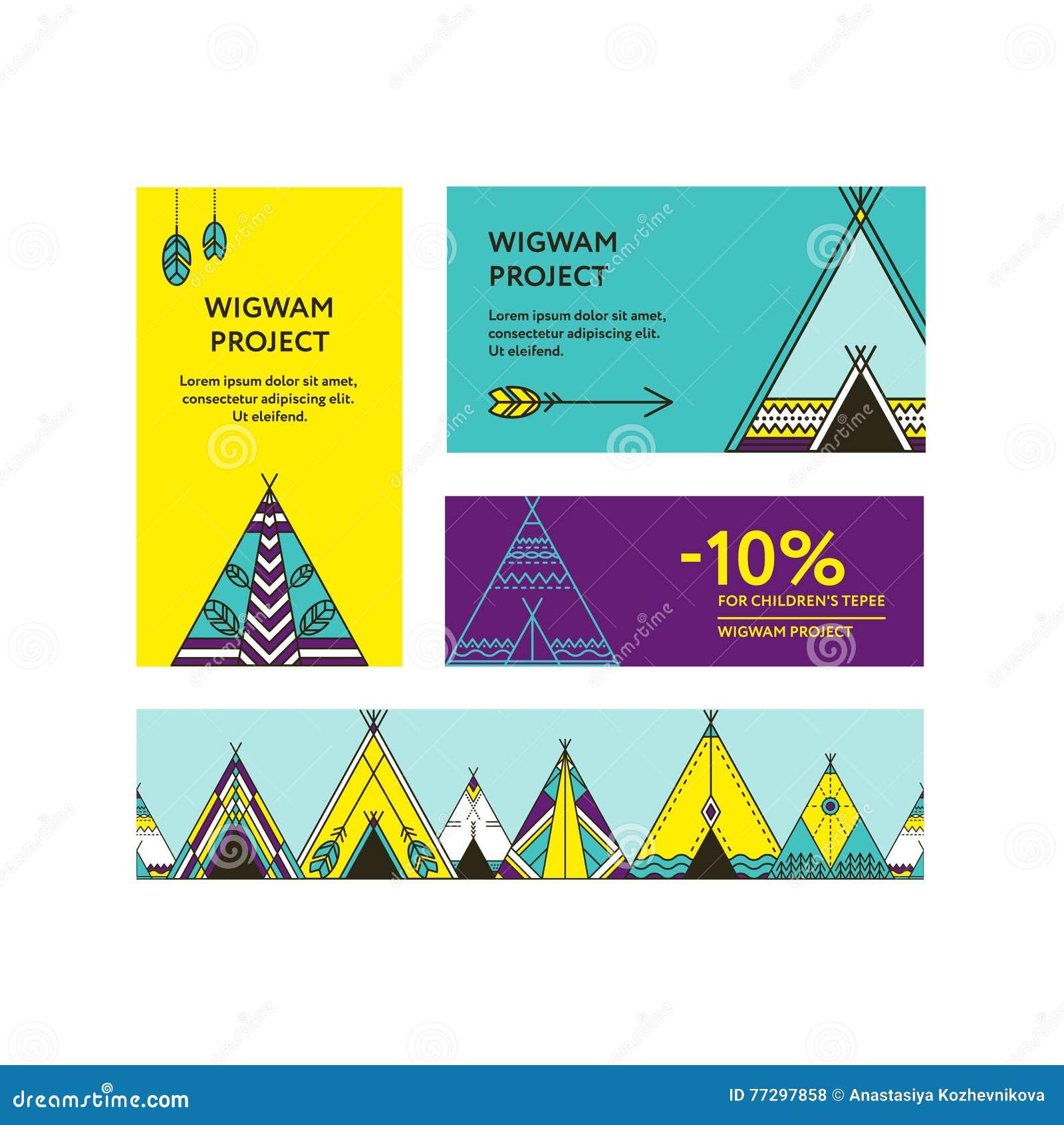 Cartes De Visite Professionnelle Et Insectes Promotionnels Avec Une Photo Des Tipis La Frontiere Sans Couture A Decore Les Elements