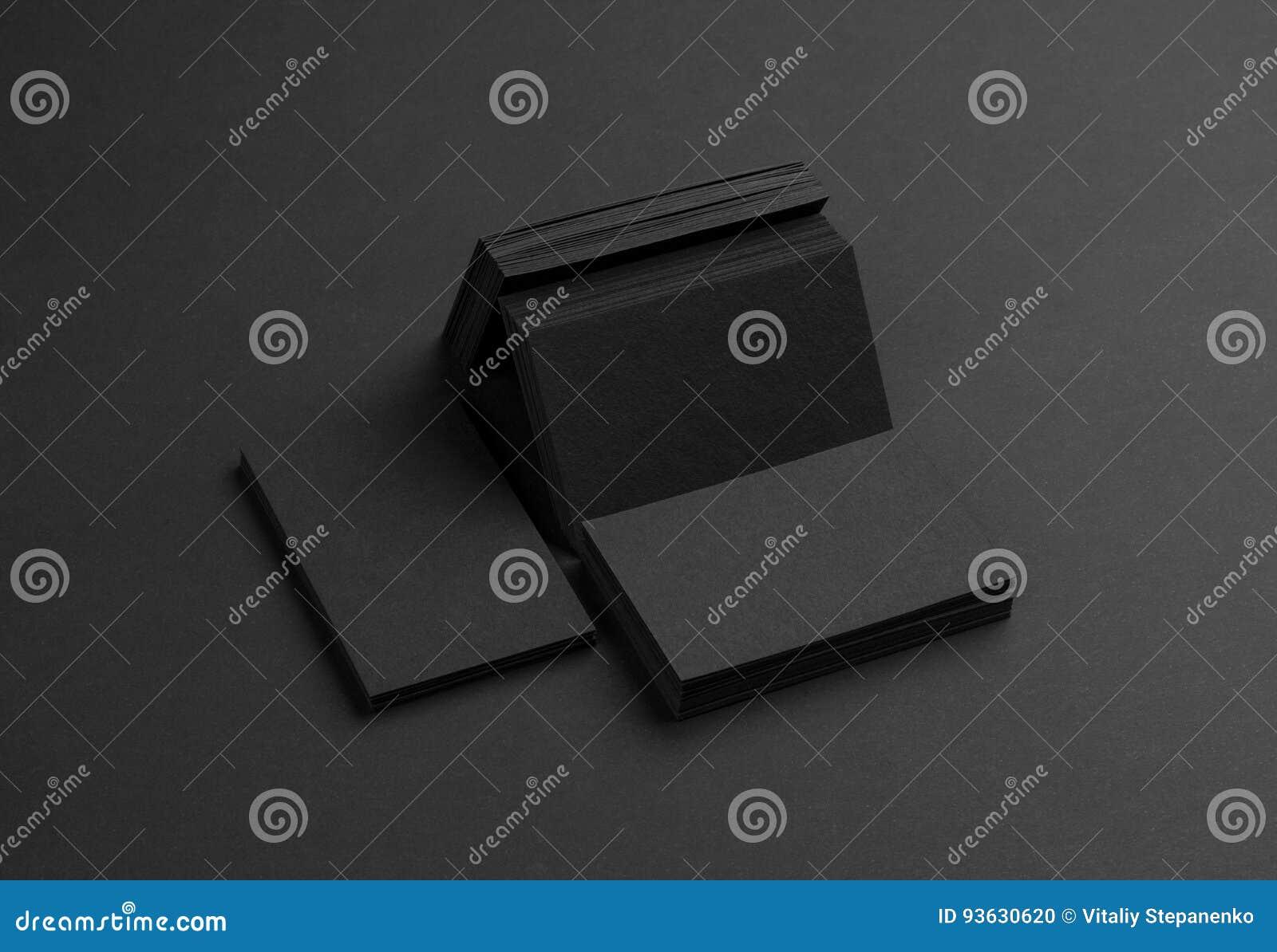 Download Cartes De Visite Professionnelle Noires Sur Le Fond Noir Photo Stock