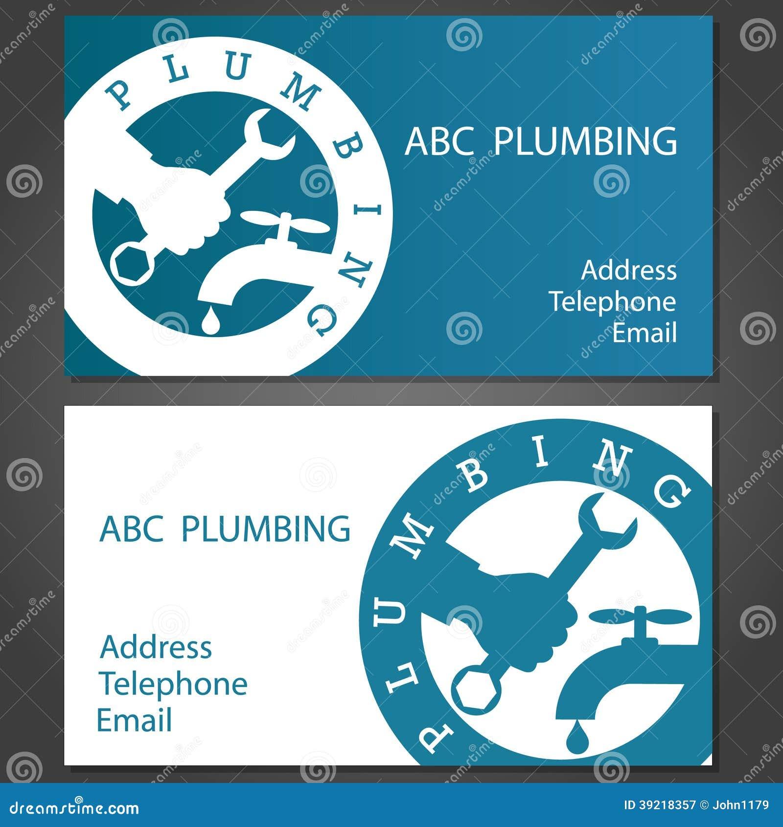 Download Cartes De Visite Professionnelle Pour Des Plombiers Illustration Vecteur