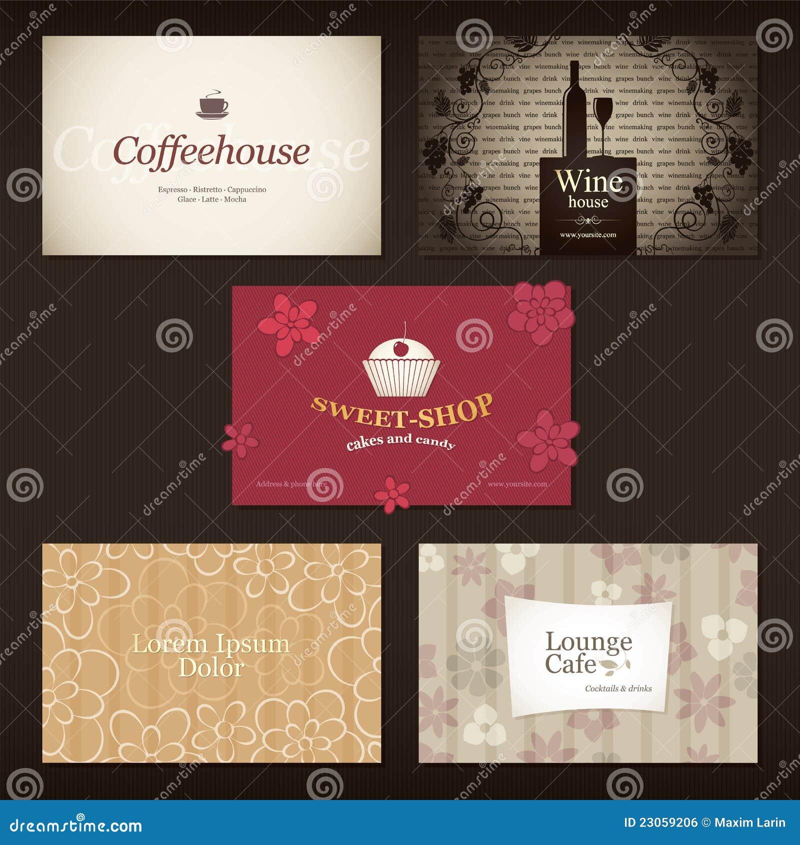 Cartes De Visite Professionnelle Pour Le Cafe Et Restaurant