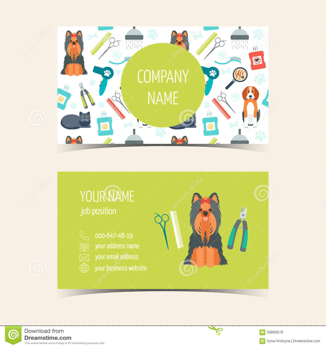 Cartes De Visite Professionnelle Pour Le Toilettage Animal Produits Promotionnels Conception Plate Illustration Vecteur
