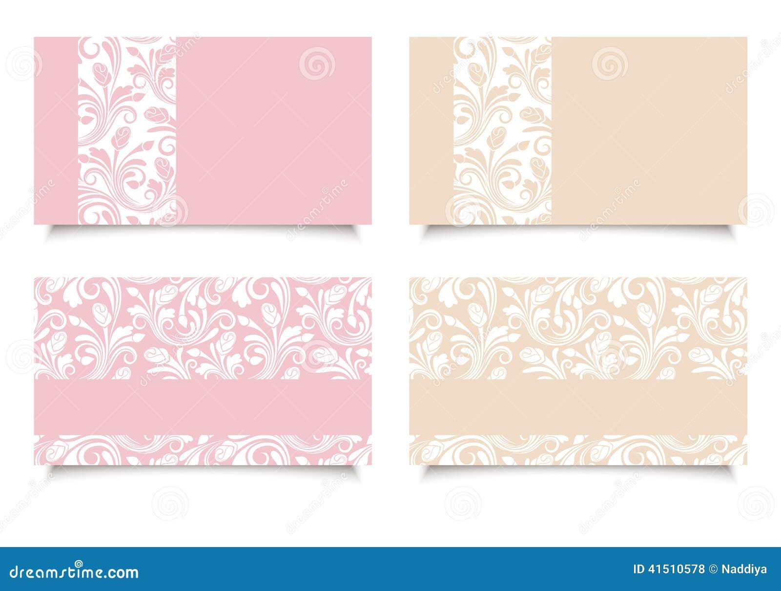 Cartes De Visite Professionnelle Roses Et Beiges Avec Les Modeles Floraux Vecteur EPS