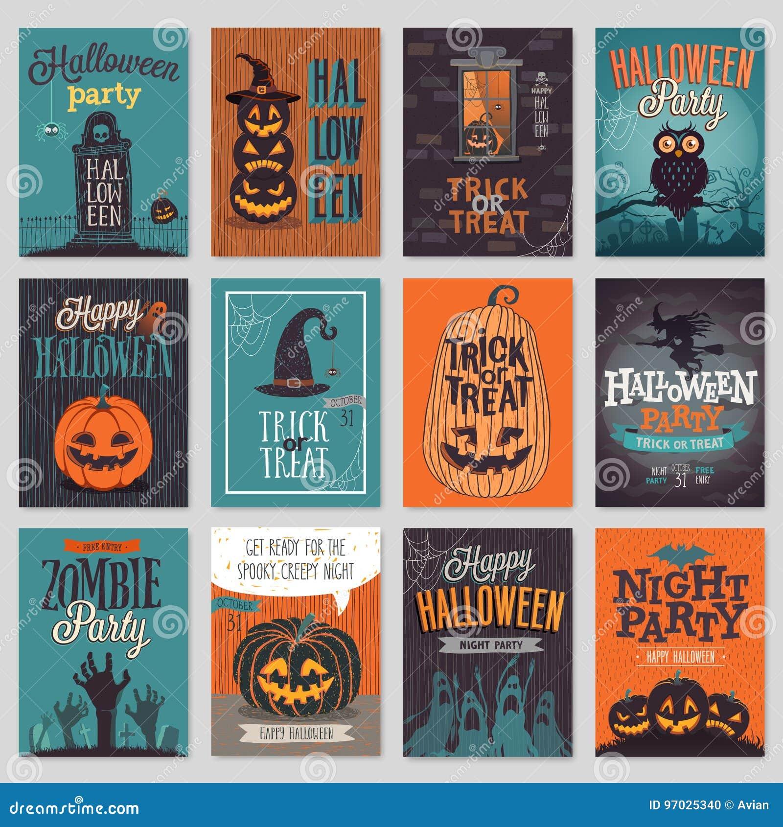 Cartes de voeux tirées par la main d invitation ou de Halloween réglées