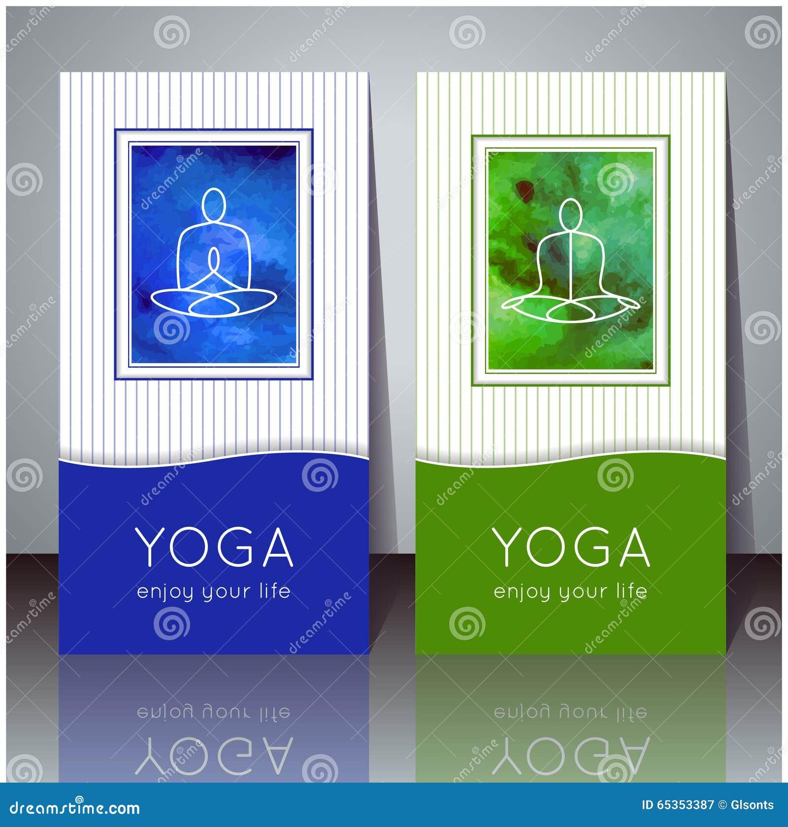 Download Cartes De Yoga Avec La Texture Daquarelle Et Silhouette Yogi Illustration