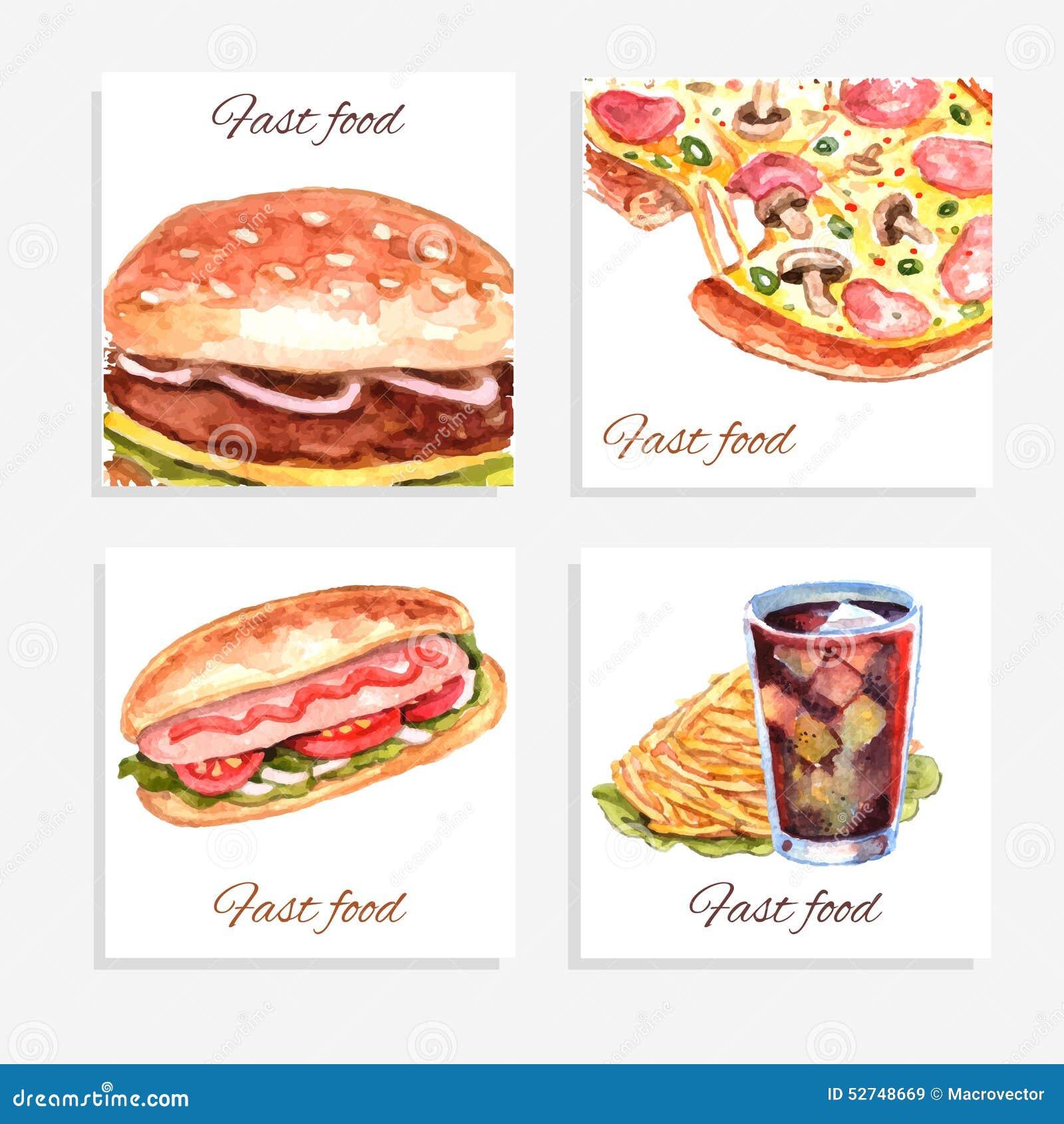 Cart es do fastfood da aquarela ilustra o do vetor for Art and appetite american painting culture and cuisine