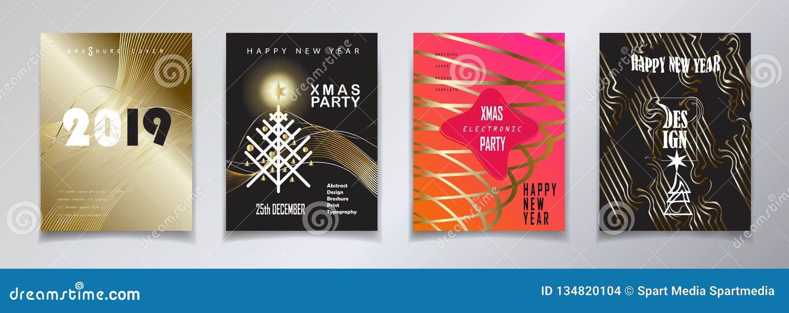 Cartes en liasse 2019 d hiver de vacances de bonne année de Noël d événement de décoration de luxe d or