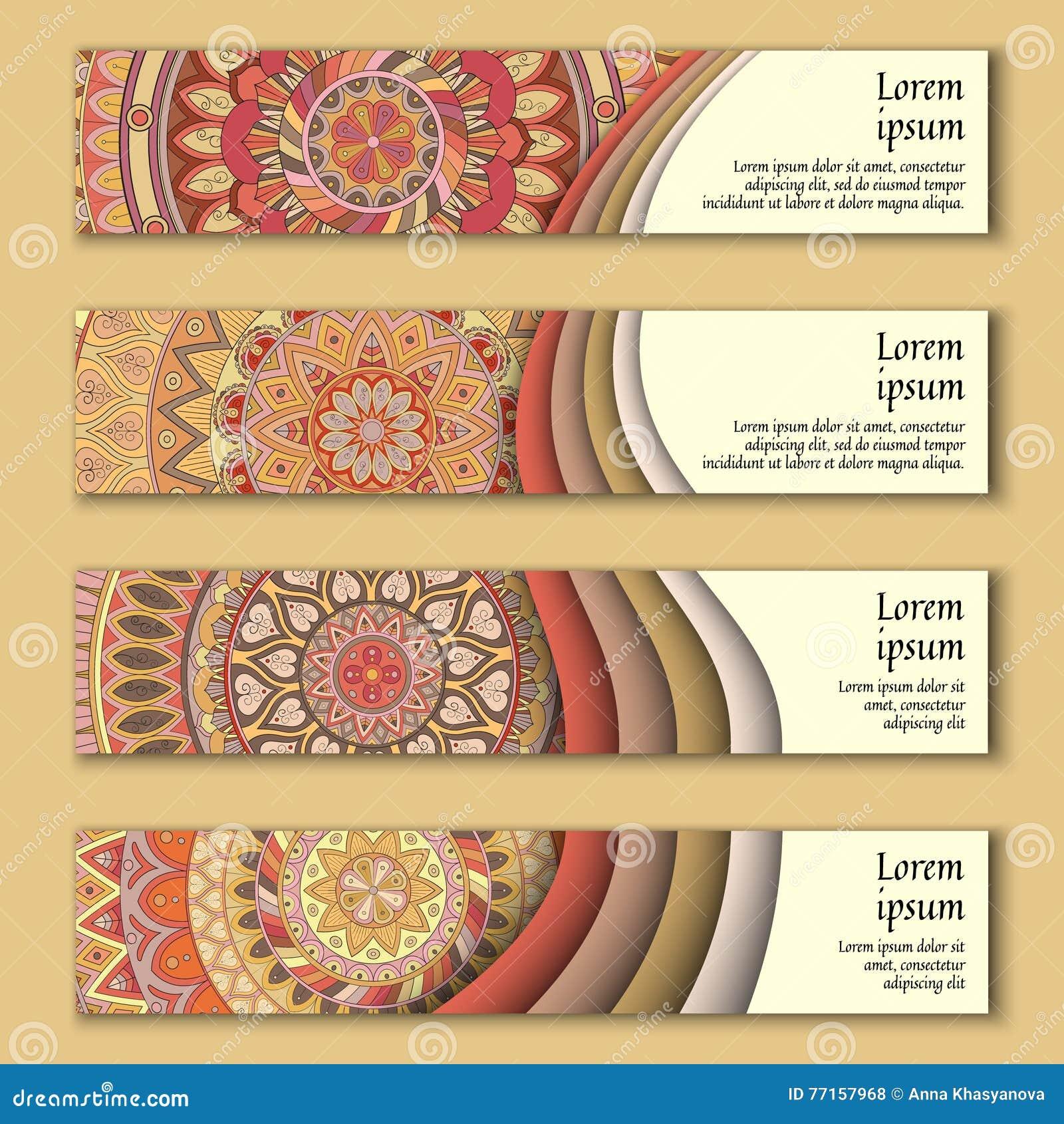 Cartes en liasse de bannière avec le fond décoratif coloré floral d éléments de mandala