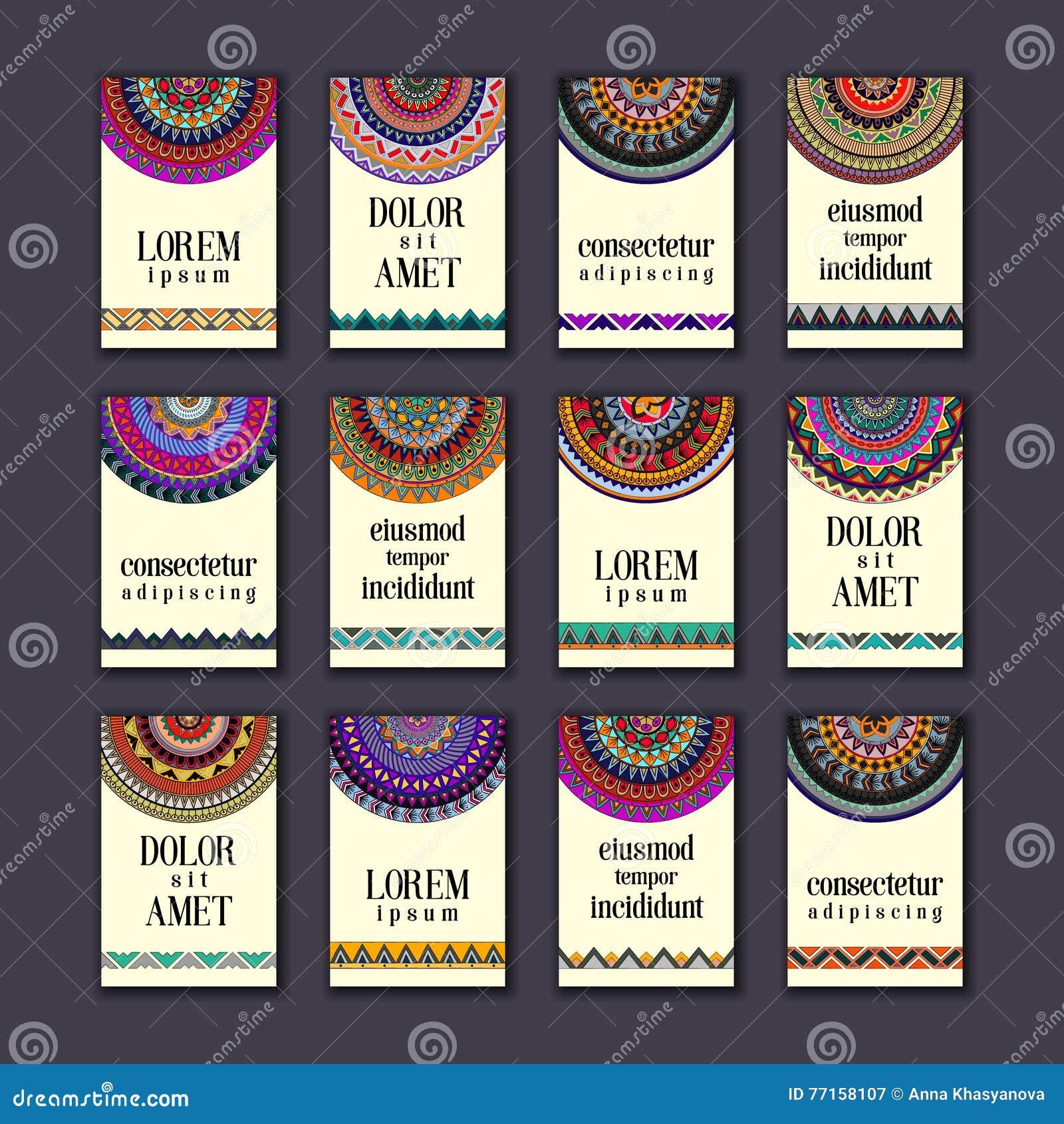 Cartes en liasse de bannières de vintage Mandala ornemental, éléments décoratifs de cercle ethnique