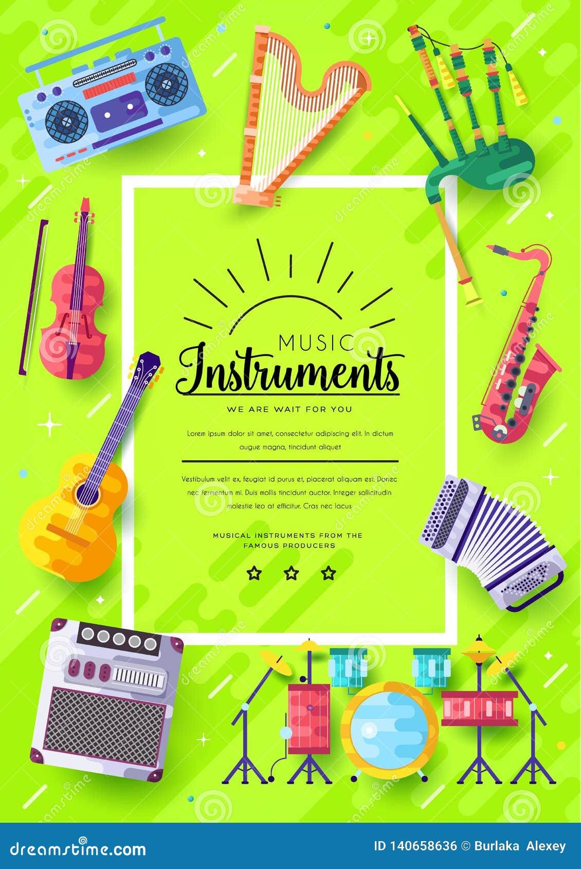 Cartes en liasse de brochure de vecteur d instruments de musique L audio usine le calibre de flyear, magazines, affiche, couvertu