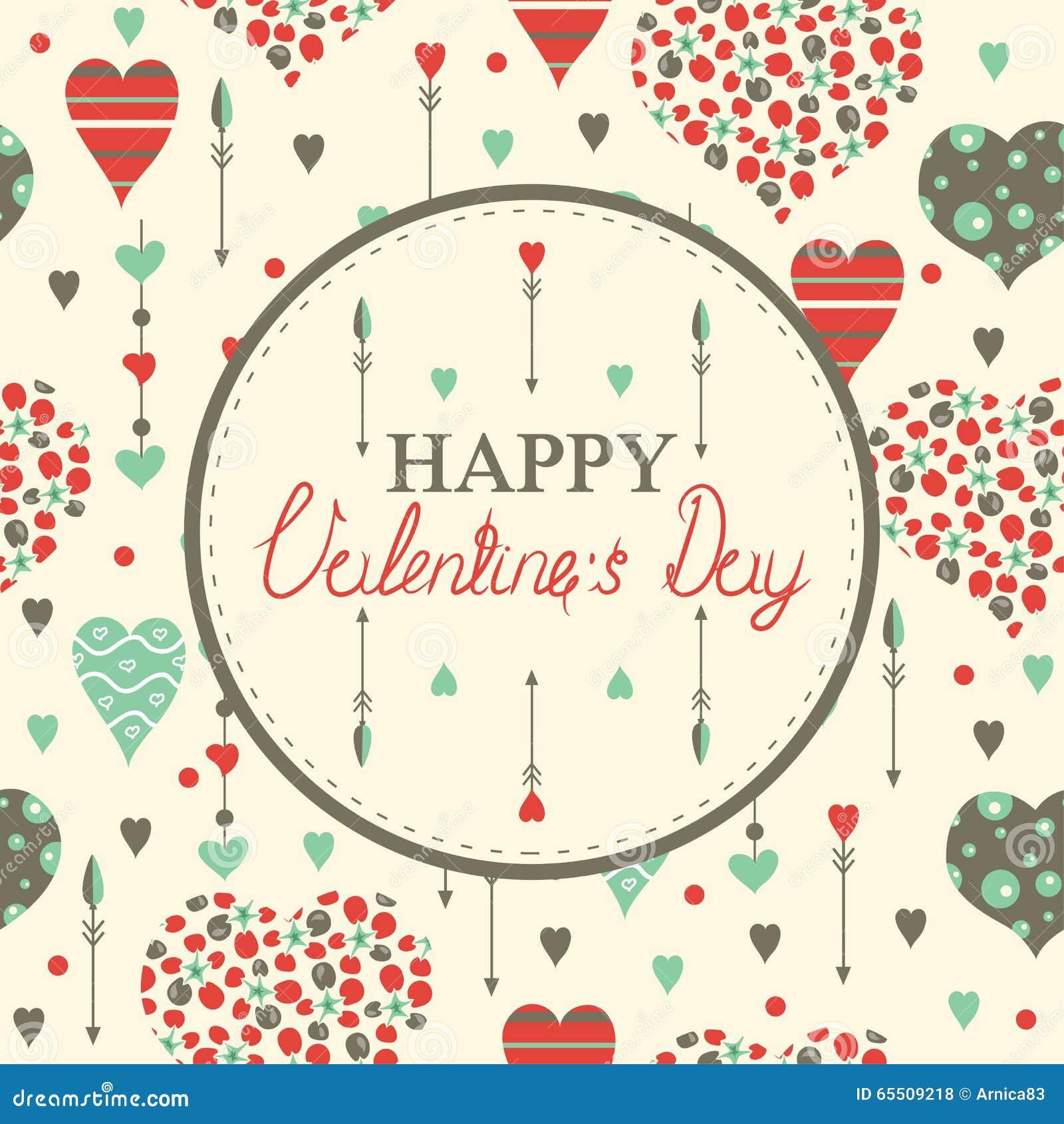 Cartes heureuses du jour de valentine avec des coeurs