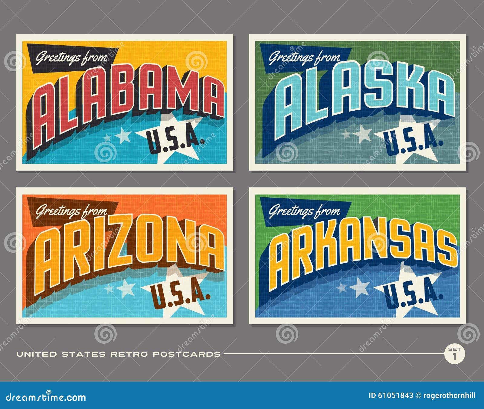 Cartes postales de typographie de vintage des Etats-Unis