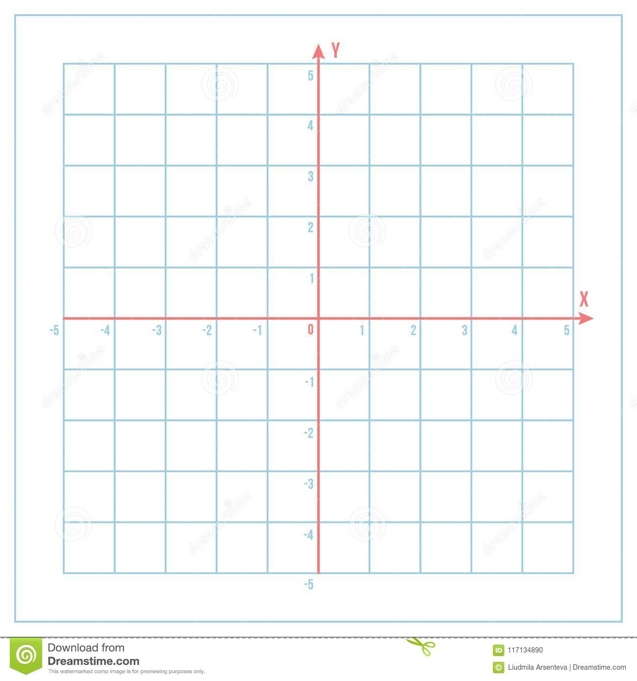 cartesian coordinate system on blue graph paper stock