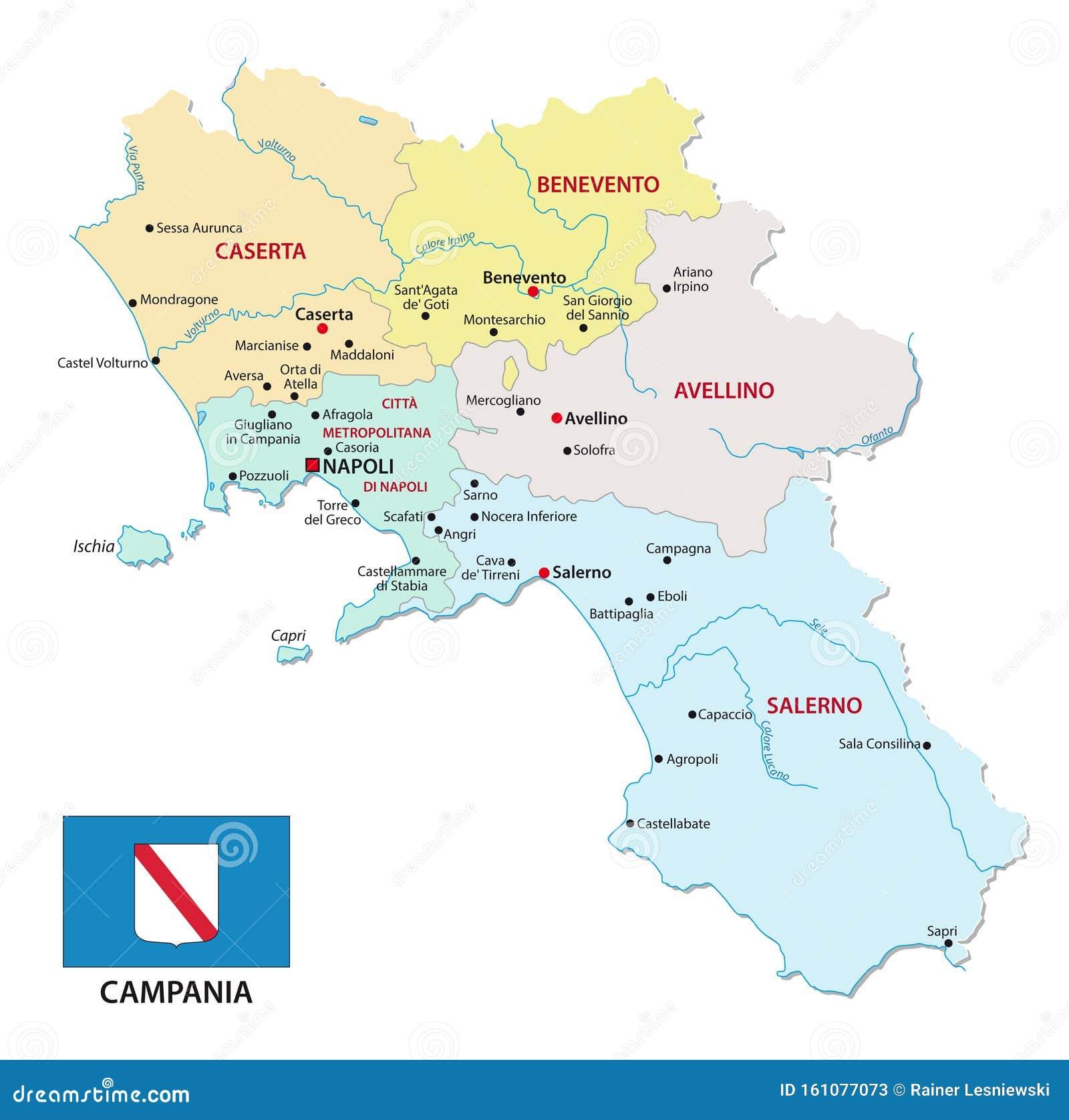 Cartina Italia E Province.Cartina Della Campania Italiana Con Le Province E La Bandiera Illustrazione Vettoriale Illustrazione Di Creativo Colore 161077073