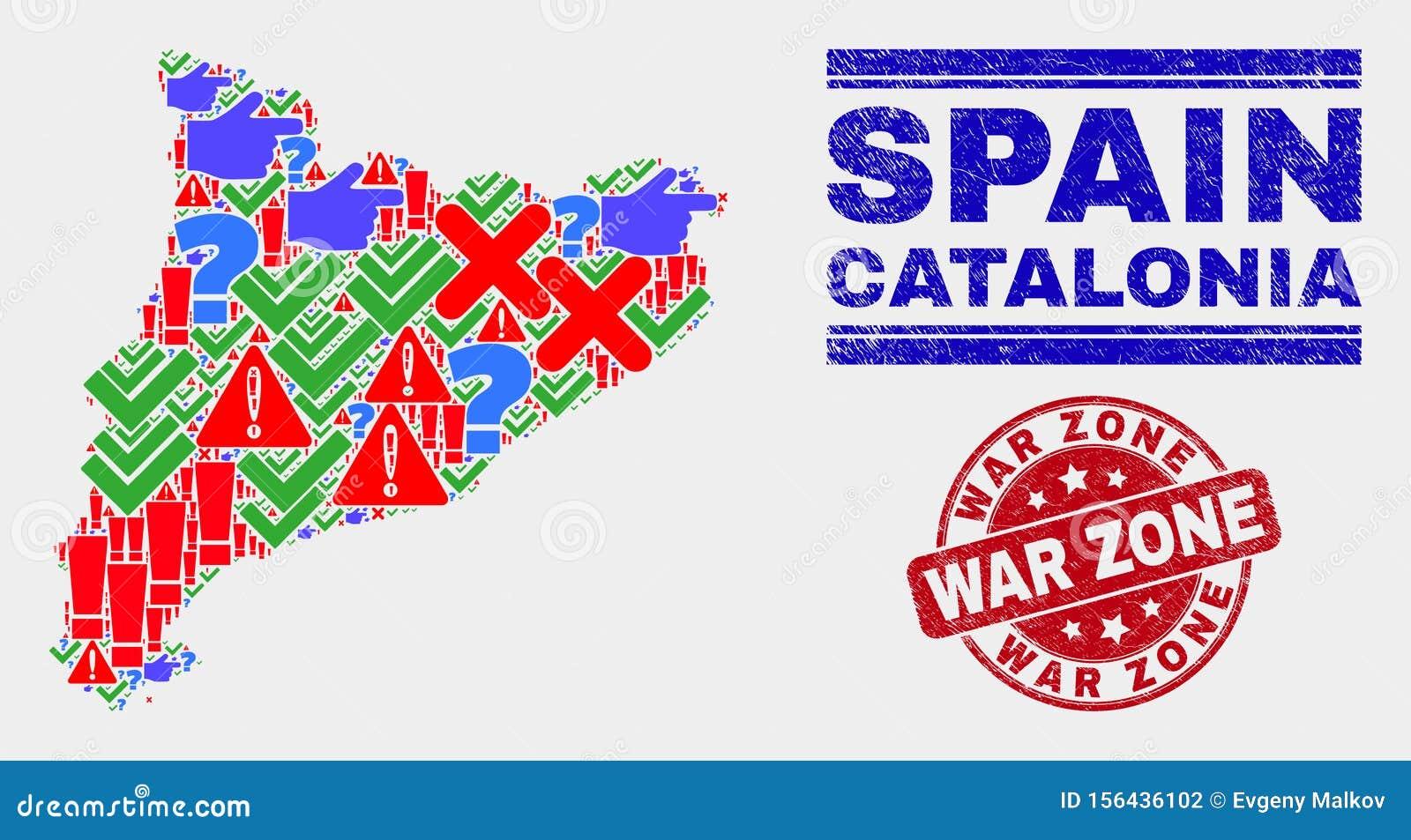 Cartina Catalogna.Cartina Della Catalogna Simbolo Del Mosaico E Timbro Della Zona Di Guerra Illustrazione Vettoriale Illustrazione Di Estratto Gomma 156436102
