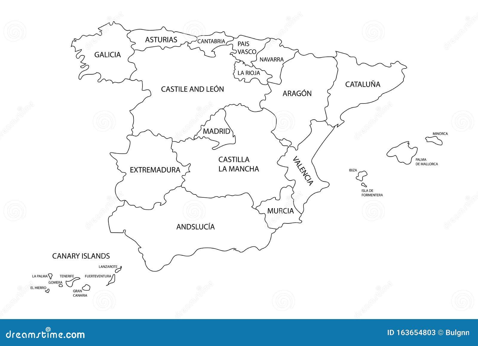 Cartina Mappa Spagna.Cartina Della Spagna Con Le Frontiere Delle Regioni Degli Stati O Delle Comunita Autonome Descrittura Mappa Di Contorno Nero Det Illustrazione Vettoriale Illustrazione Di Sfondo Bordo 163654803
