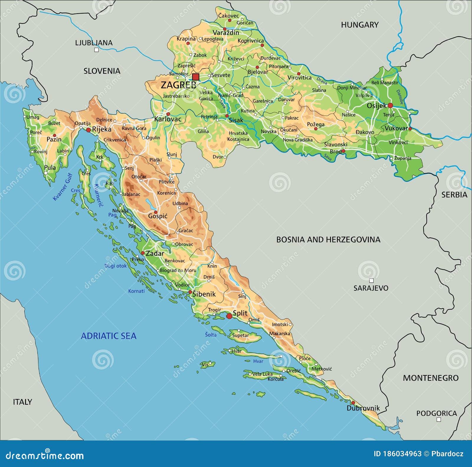Cartina Politica Italia Alta Definizione.Cartina Fisica Croazia Ad Alta Precisione Con Etichettatura Illustrazione Vettoriale Illustrazione Di Altezza Atlante 186034963