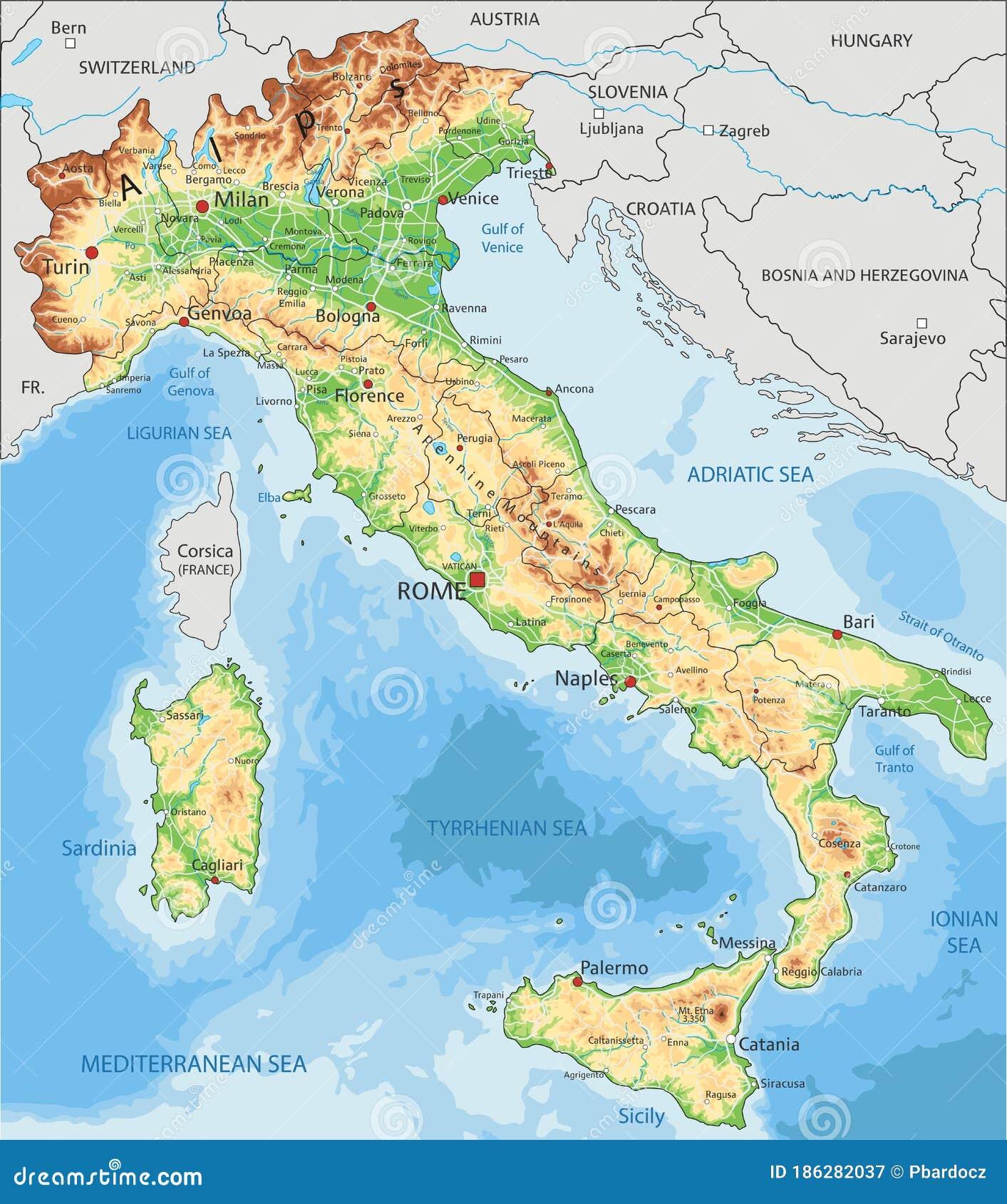 Cartina Italiana Dettagliata.Cartina Fisica Dettagliata Dell Italia Con Etichettatura Illustrazione Vettoriale Illustrazione Di Identificare Illustrazione 186282037
