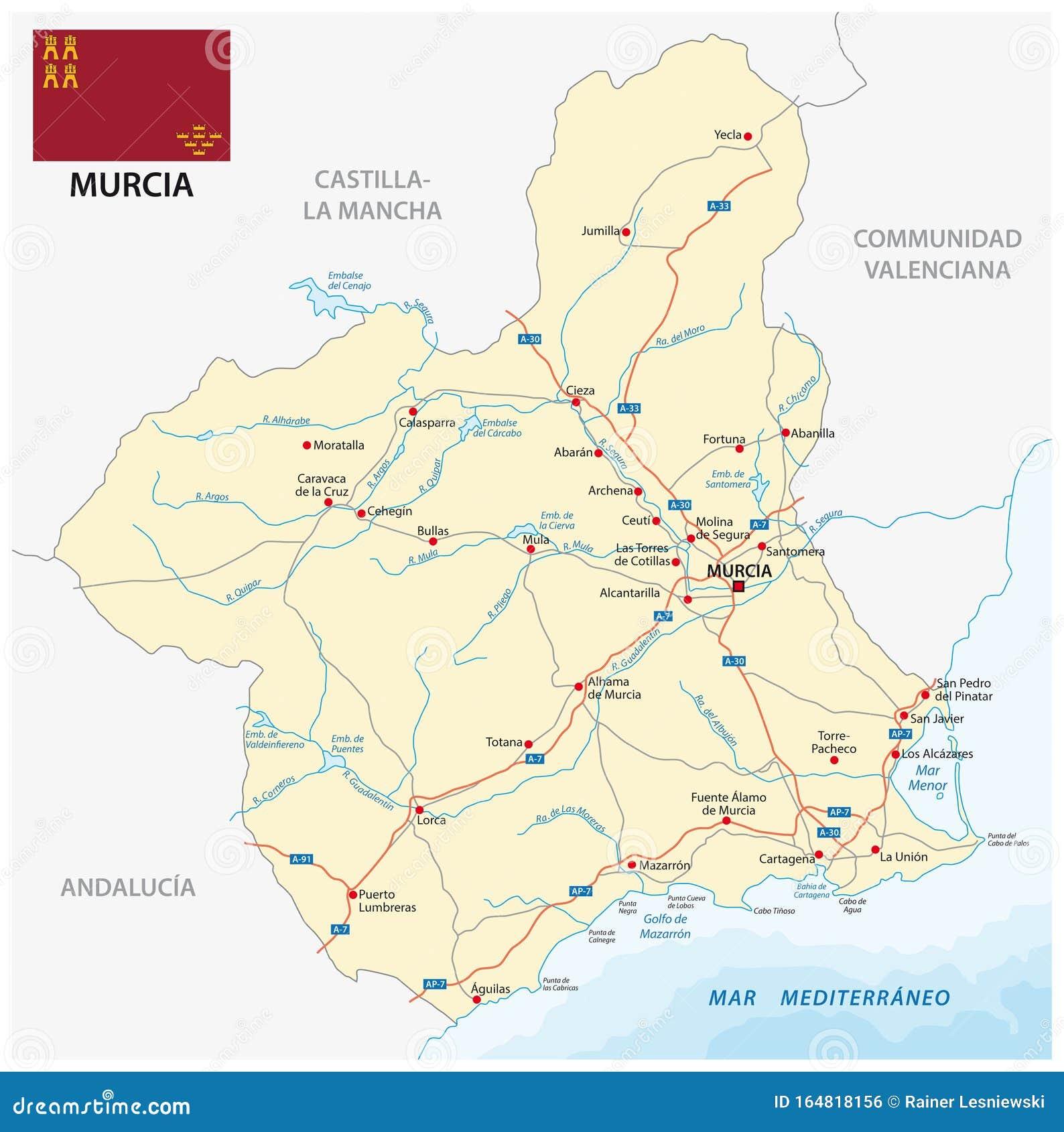 Tenerife Cartina Stradale.Cartina Stradale Della Regione Spagnola Murcia Con Bandiera Illustrazione Vettoriale Illustrazione Di Profilo Governo 164818156