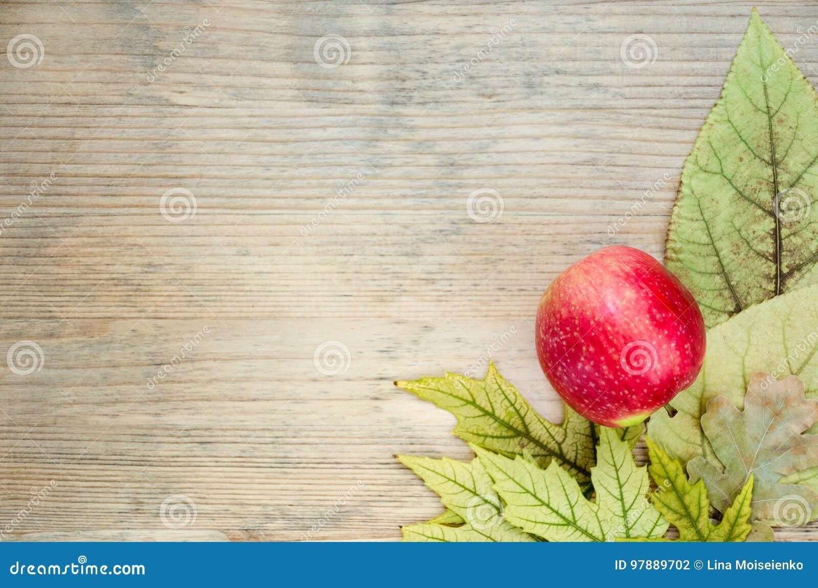 Cartolina colorata di autunno - angolo decorato con la mela rossa matura sulle foglie di autunno gialle Priorità bassa di legno