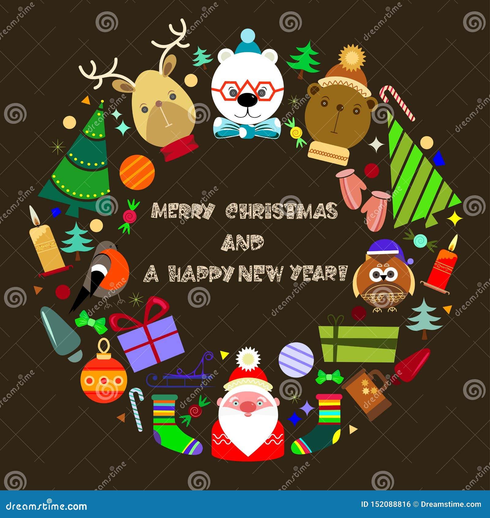 Cartolina d auguri anno felice di nuovo e di Buon Natale