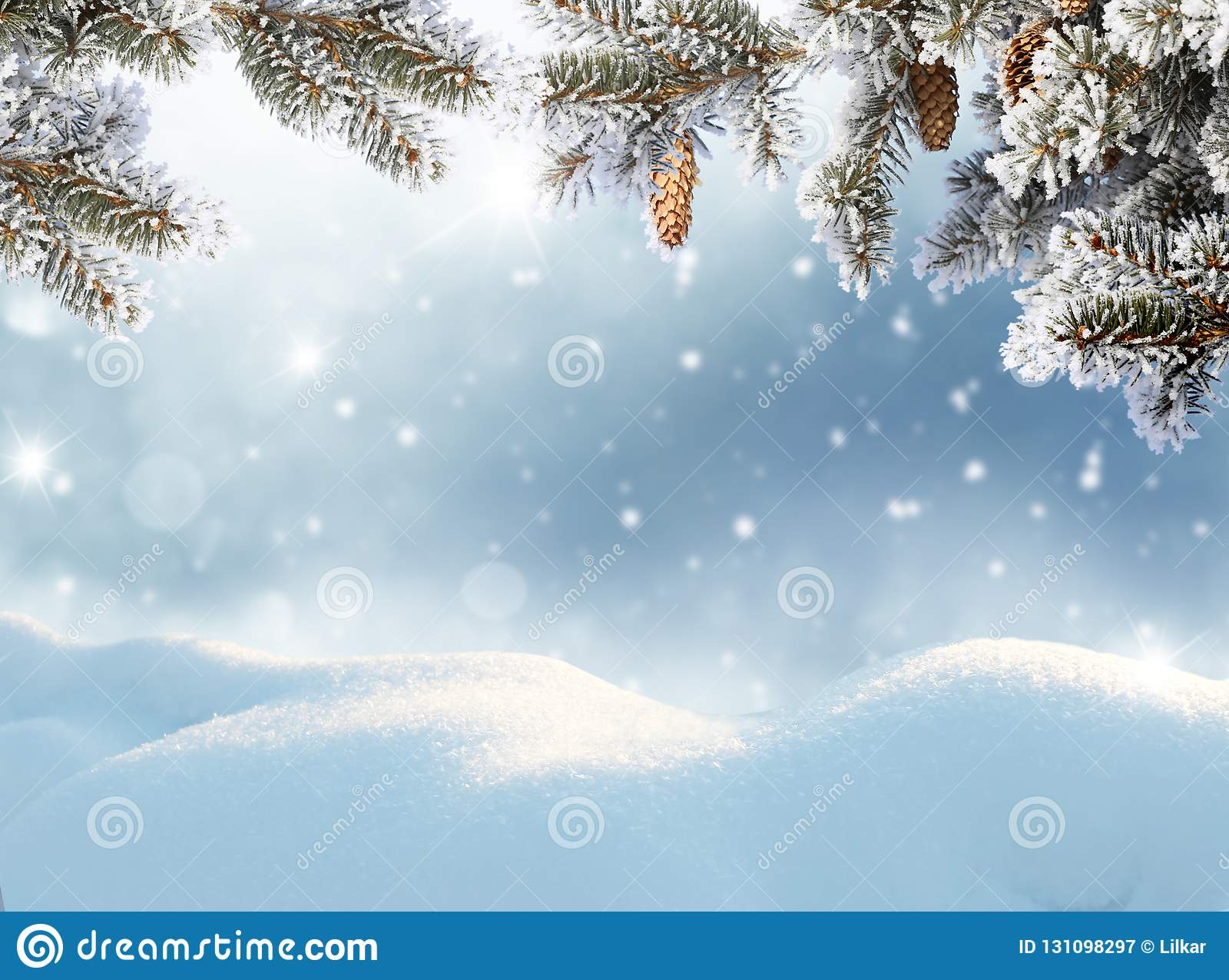 Cartolina d auguri anno felice di nuovo e di Buon Natale Landsca di inverno