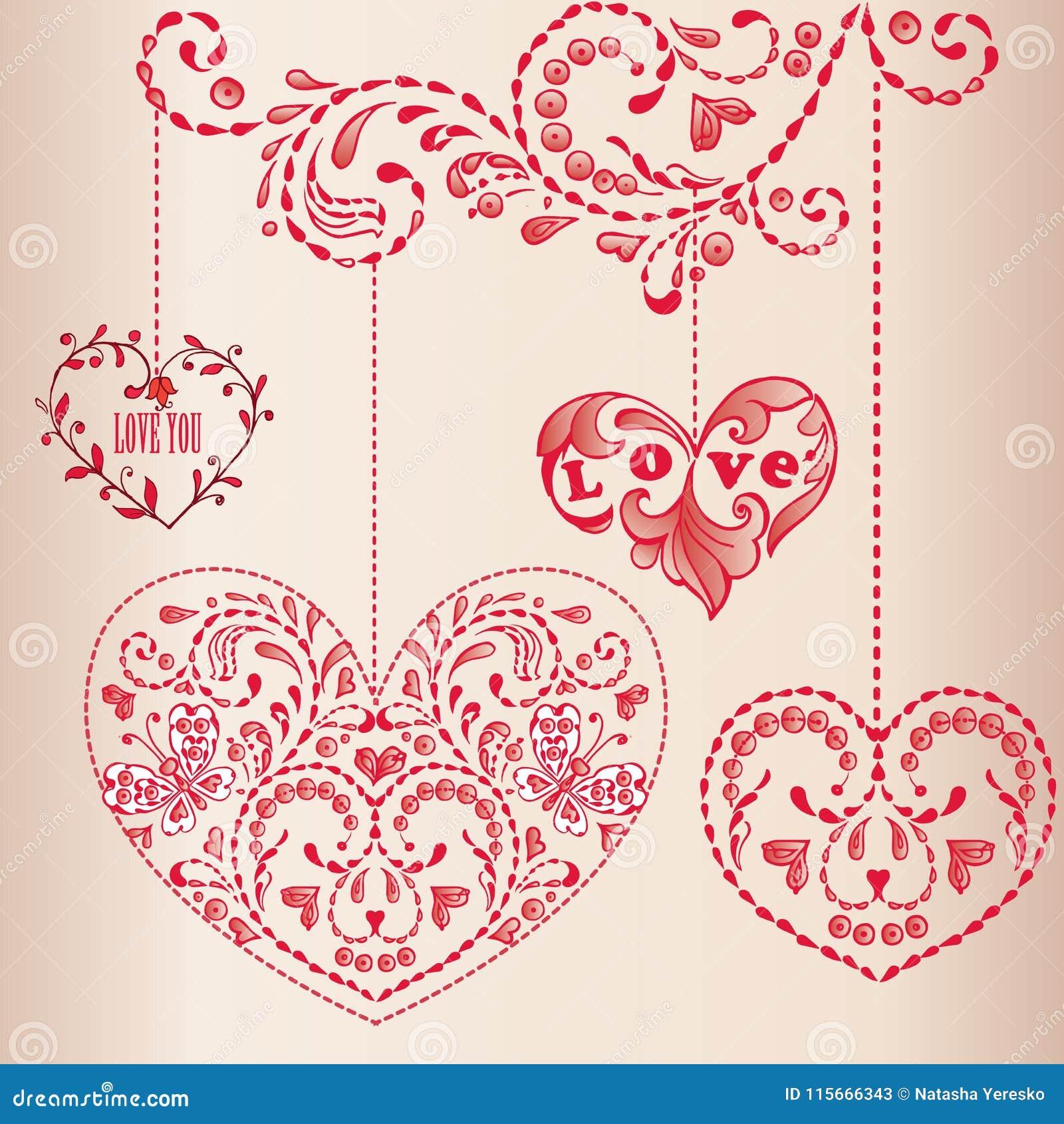 Cartolina D Auguri Con I Cuori Buon Compleanno Giorno Del S Della