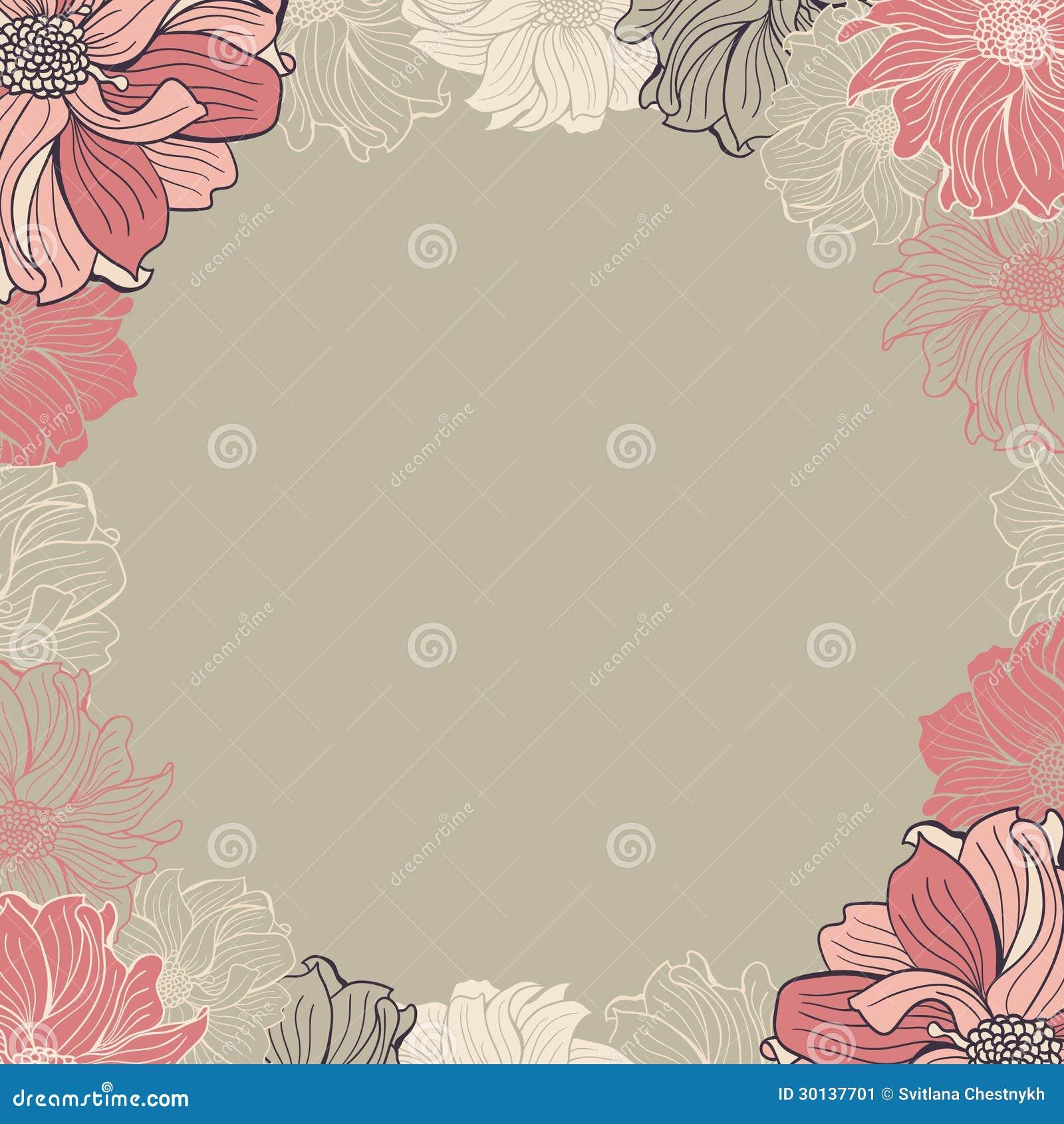 Cartolina d 39 auguri con i fiori disegnati a mano for Fiori disegnati